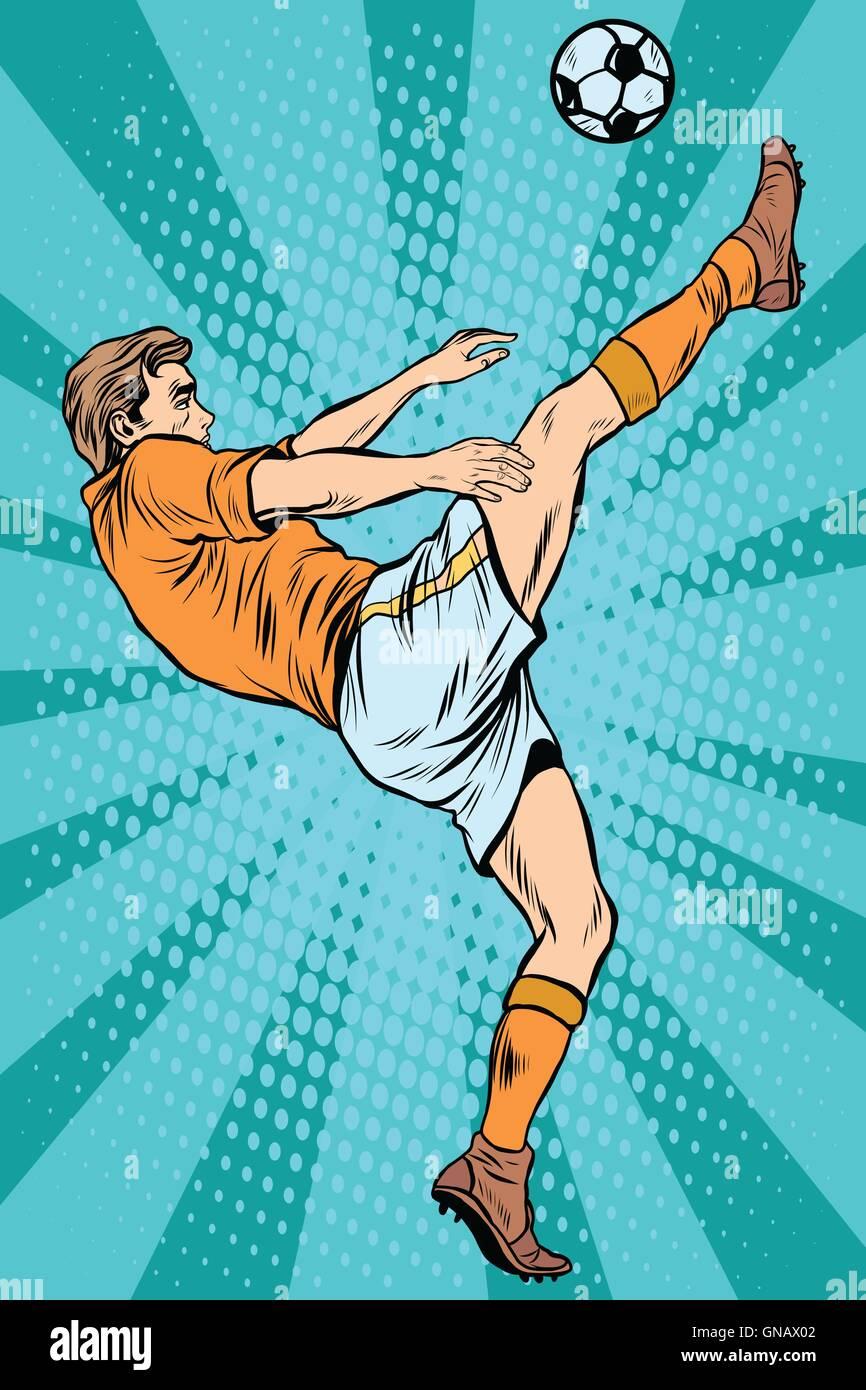 Football soccer player kick the ball - Stock Vector