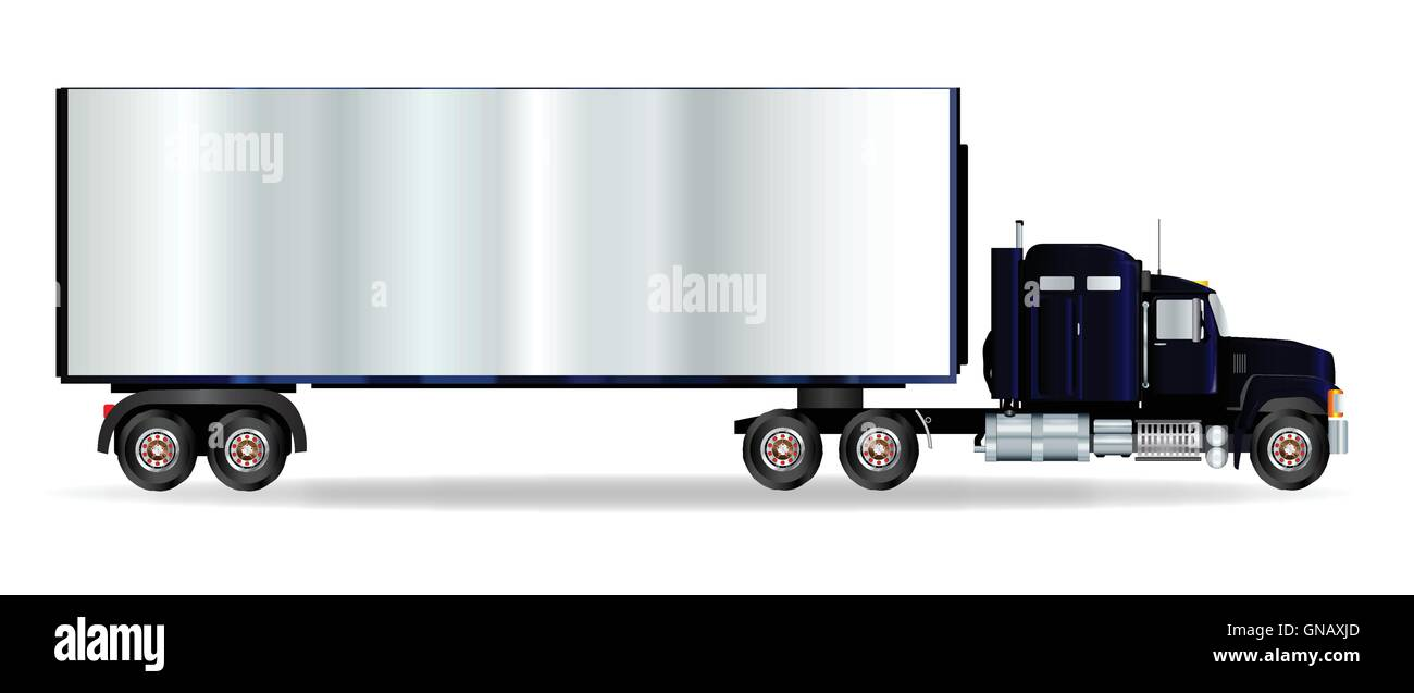 Truck Tractor Unit And Trailer - Stock Vector