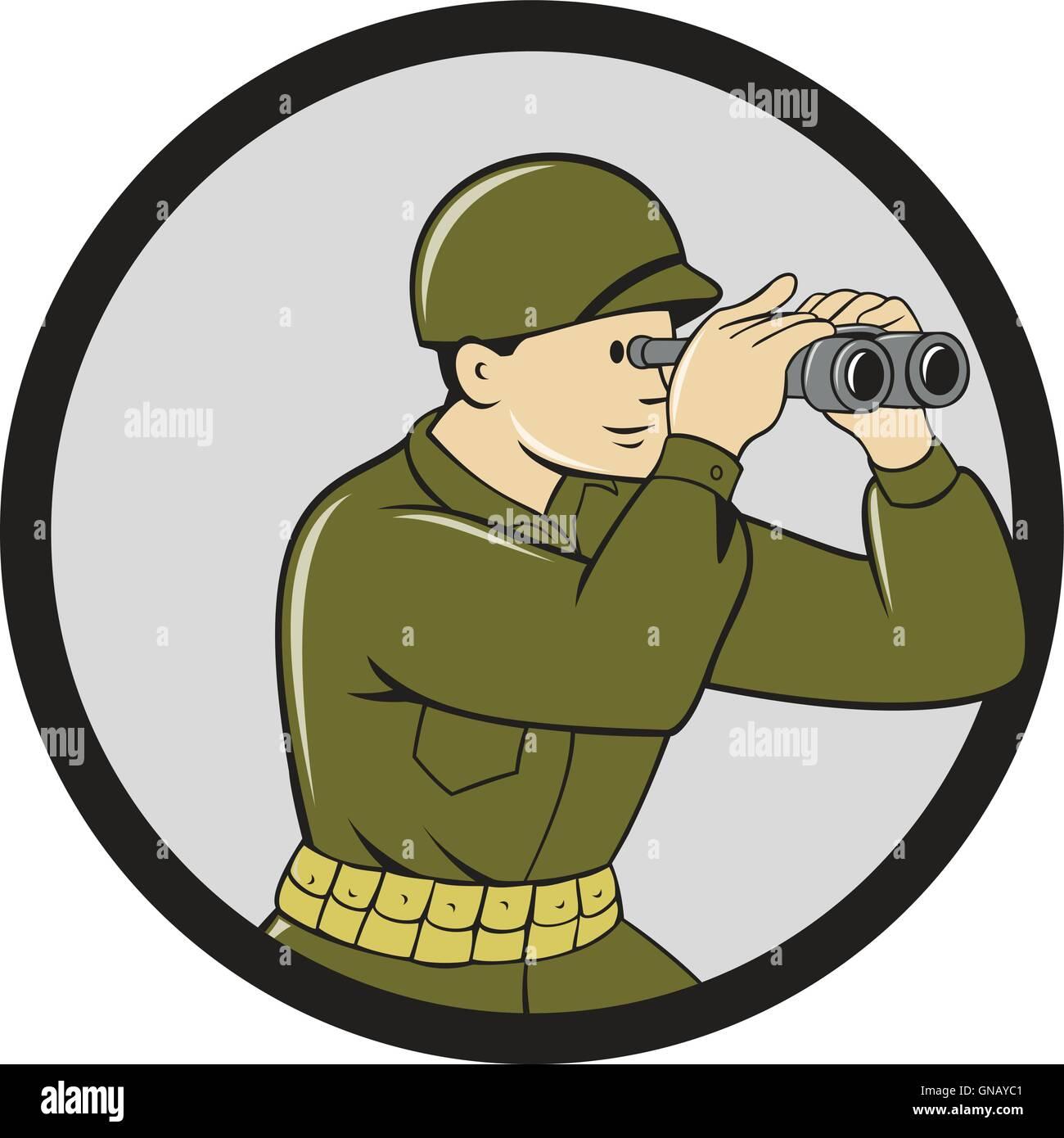 World War Two American Soldier Binoculars Circle Cartoon - Stock Vector