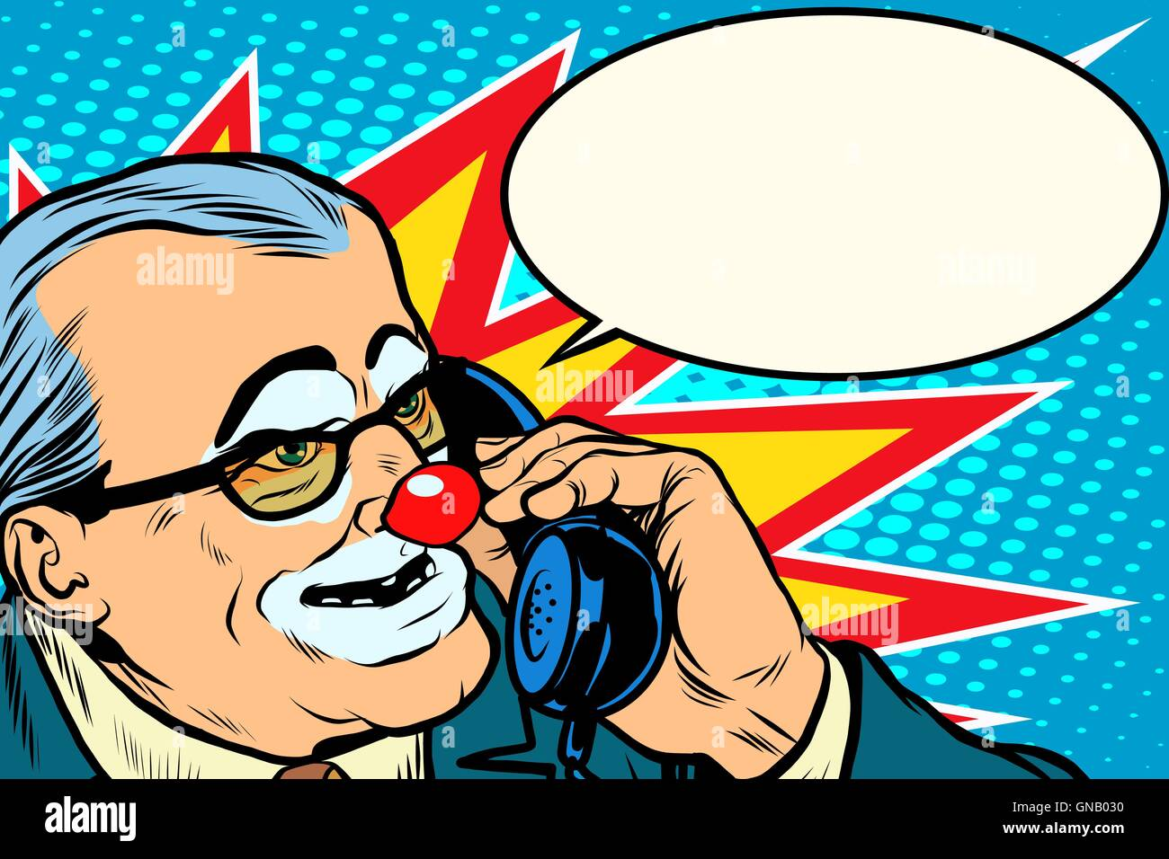 boss clown on the phone - Stock Image
