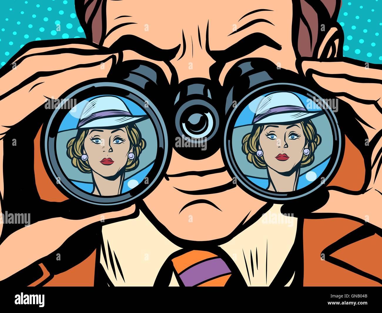 Love couple man woman binoculars - Stock Image