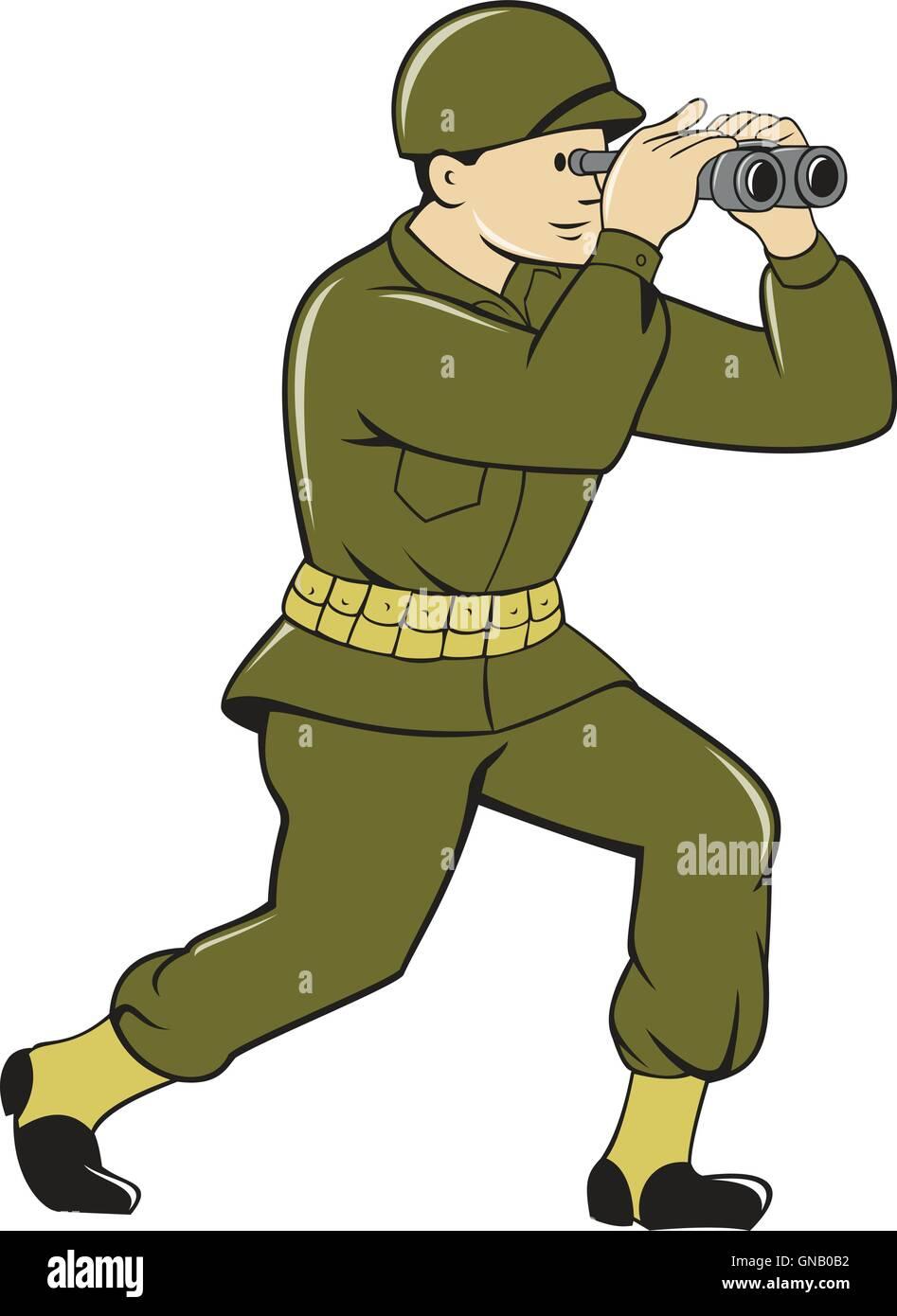 World War Two American Soldier Binoculars Cartoon - Stock Vector