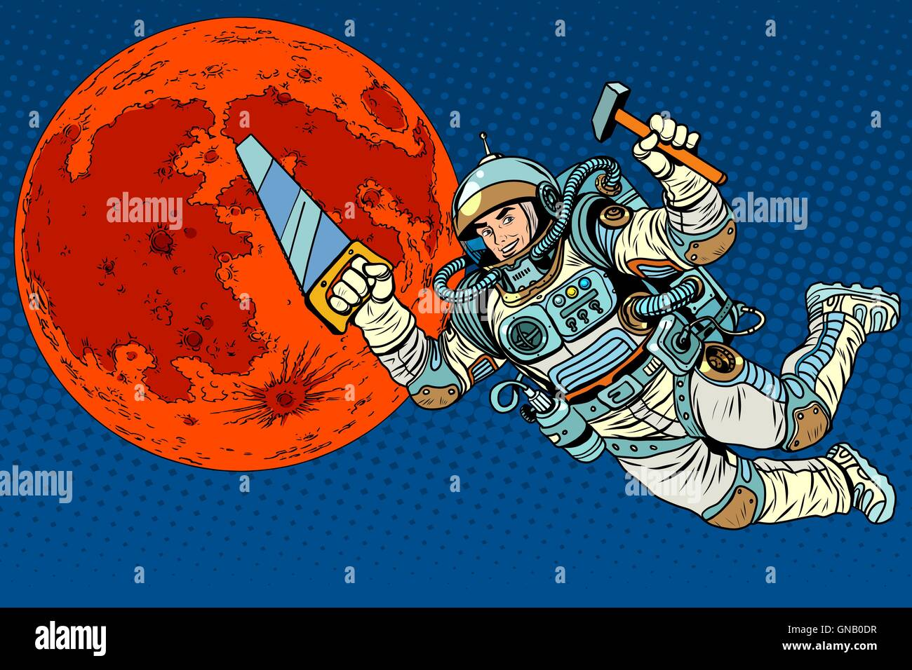 Astronaut with tools for building a colony on Mars - Stock Vector