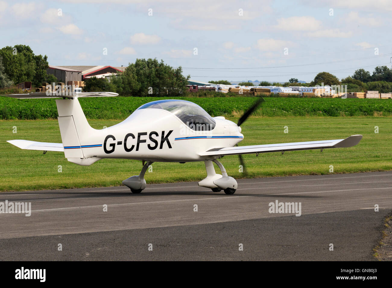 Dyn'Aero MCR-01 VLA Sportster G-CFSK taxiing at Breighton Airfield - Stock Image