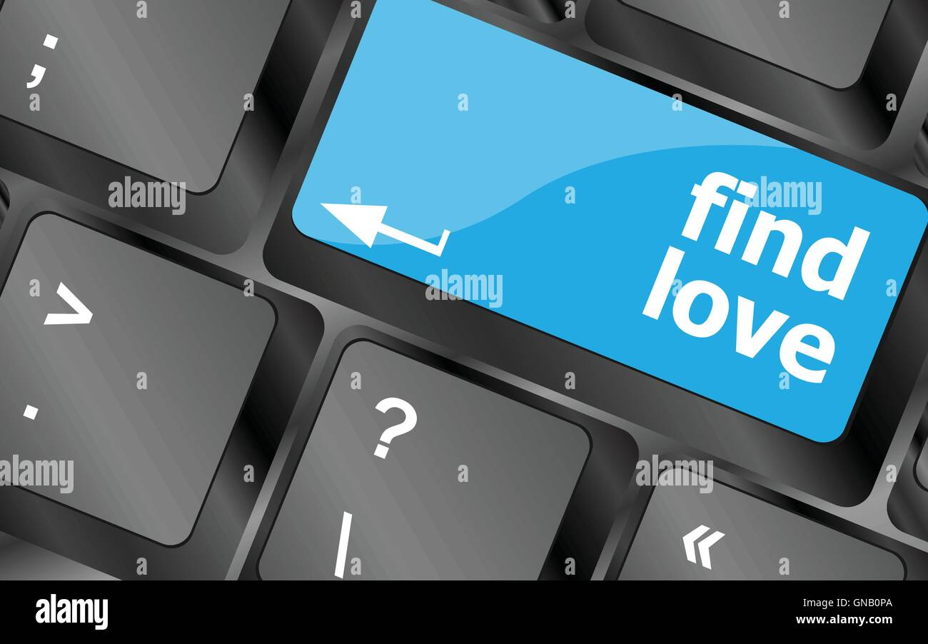 A keyboard with a find love button - social concept. Keyboard keys icon button vector. Keyboard Icon, Keyboard Icon - Stock Image