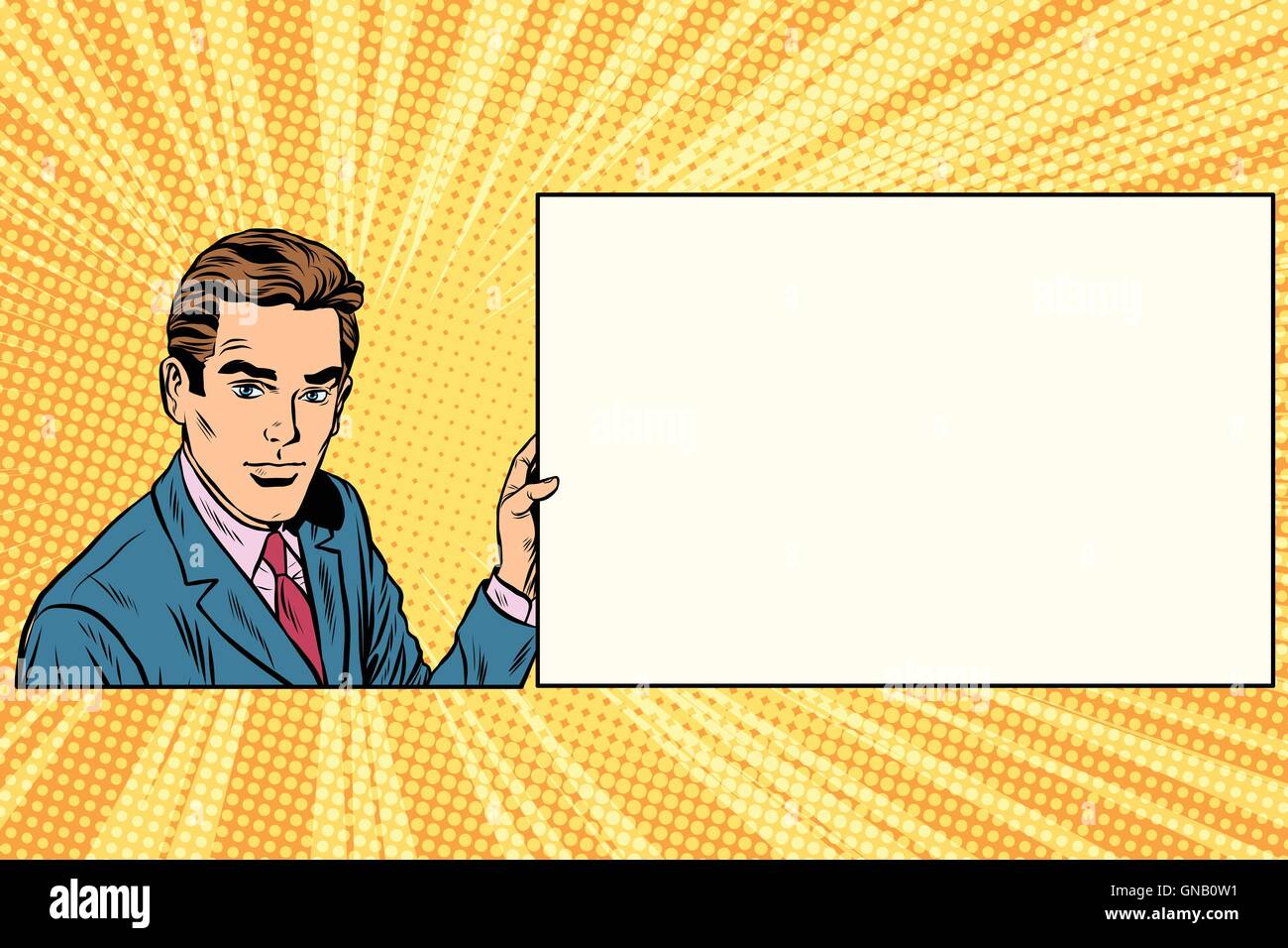Pop art businessman with frame for text - Stock Vector