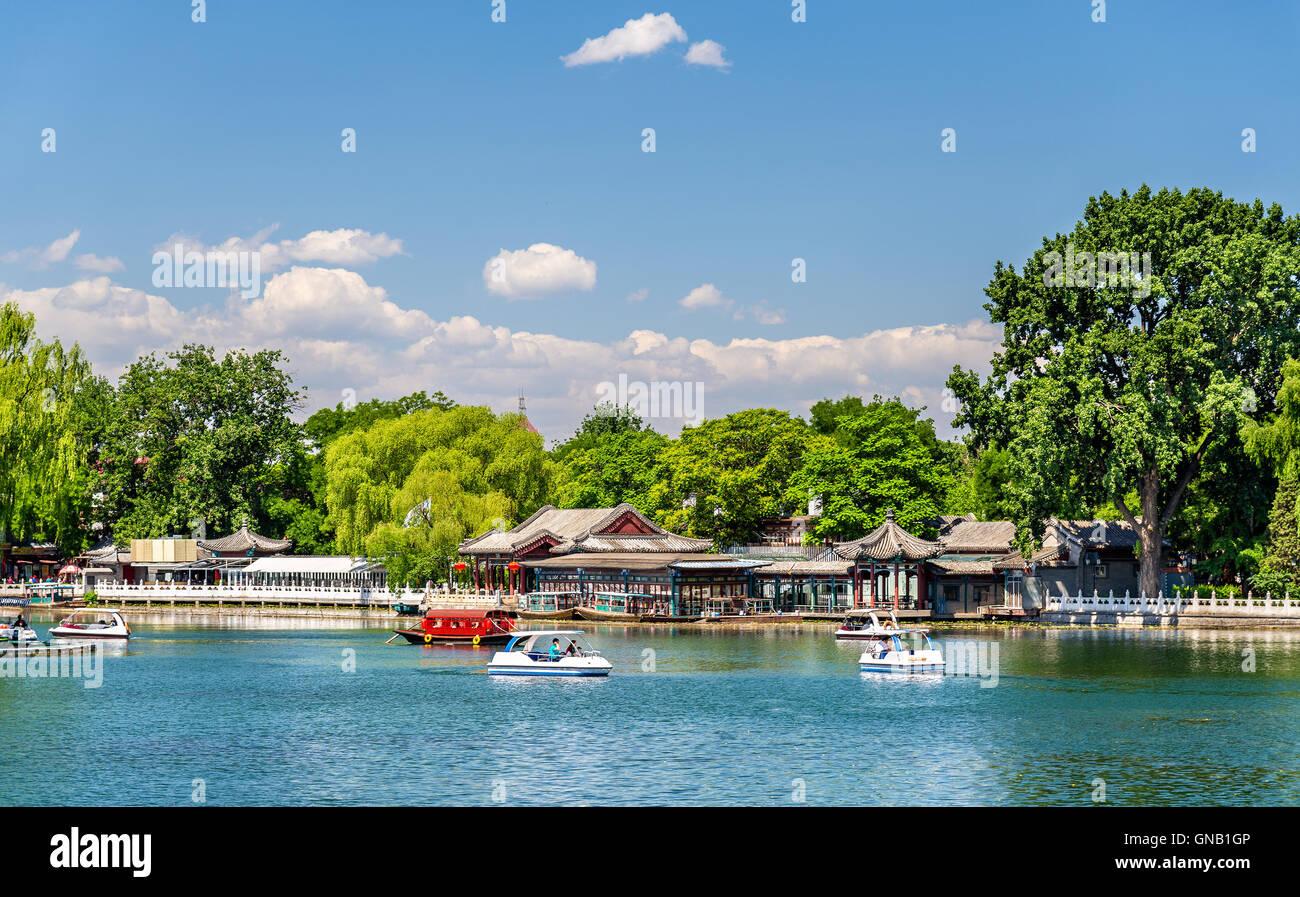 Qianhai lake in Shichahai area of Beijing - Stock Image