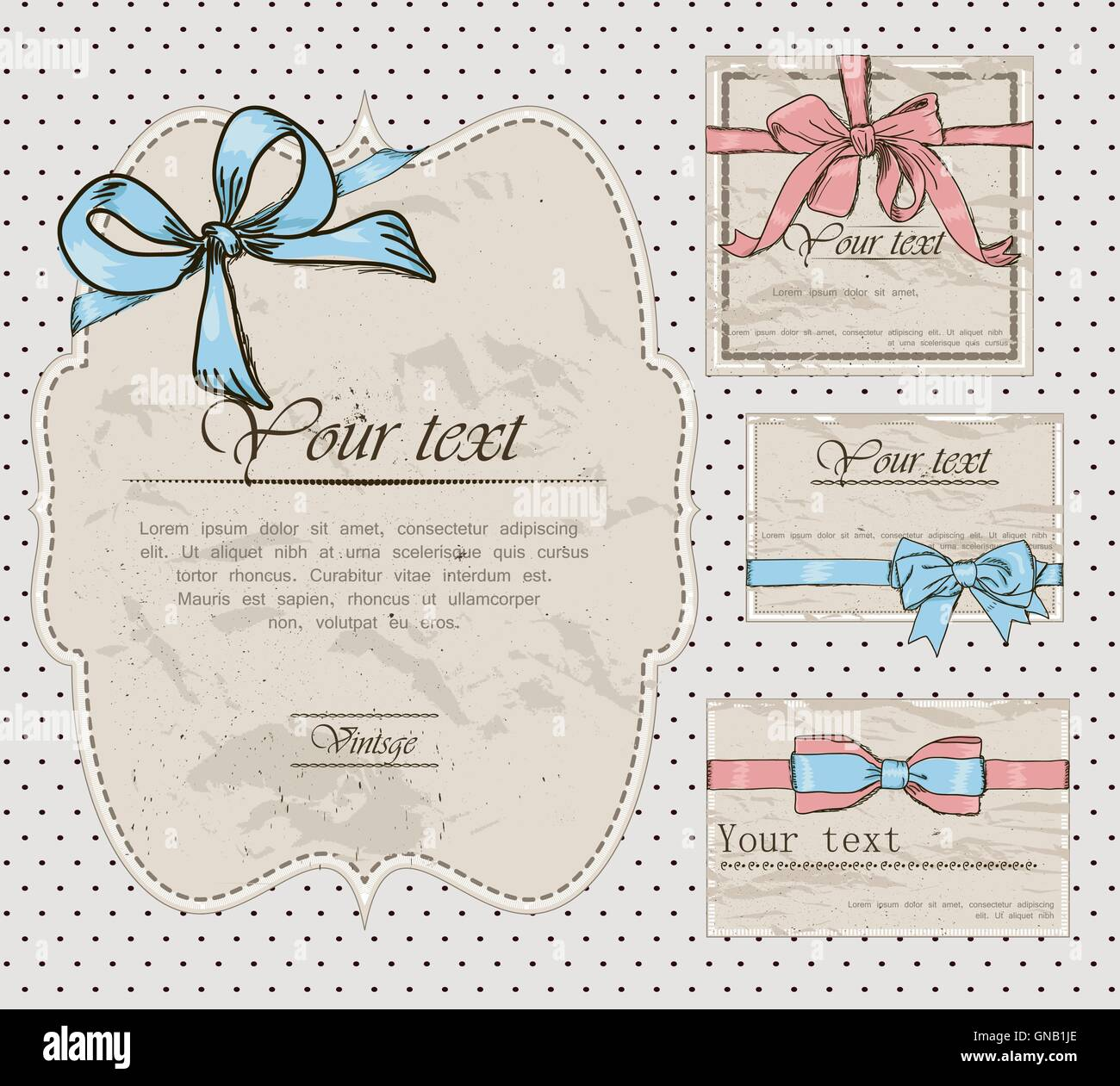 Set of vintage gift bows. Stock Vector