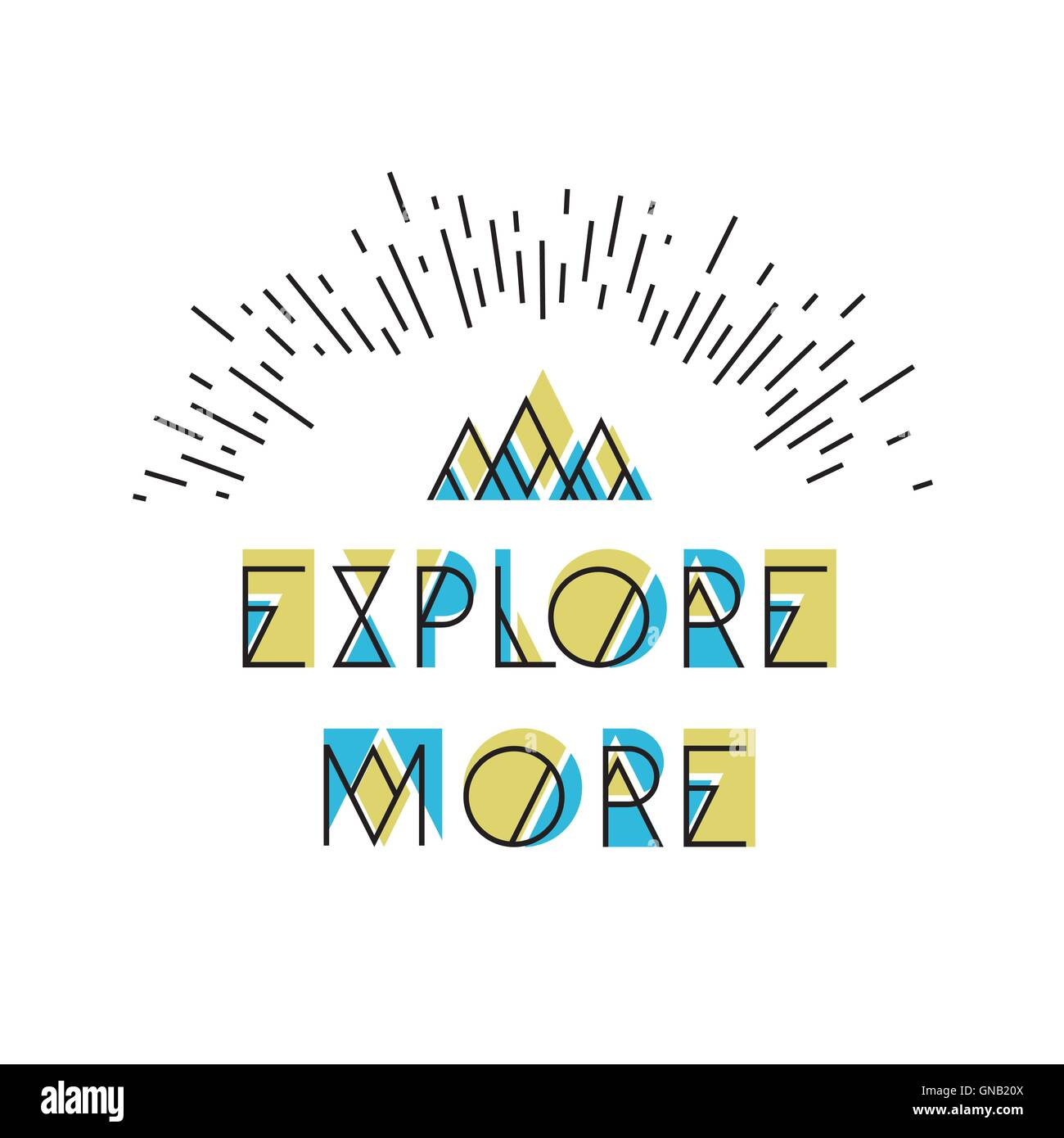Explore More! Abstract Vector Icon. Wilderness typography with m - Stock Image