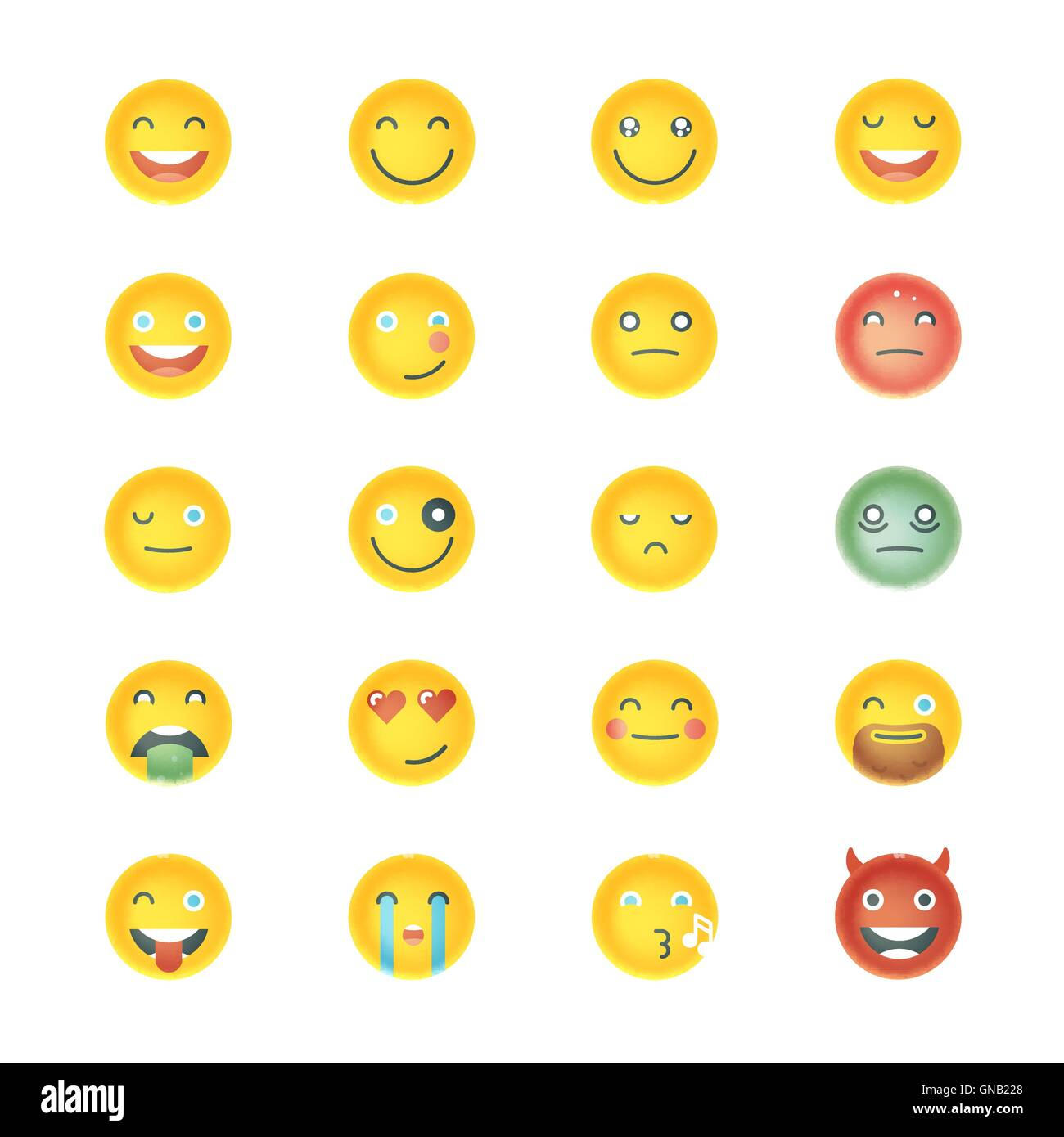 Emoticons Collection. Set of Emoji. Different Emoticons. Vector - Stock Image