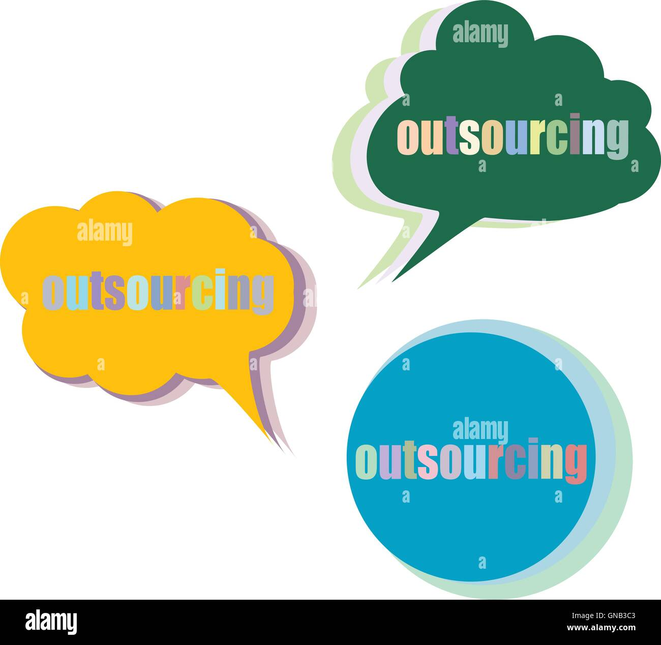 outsourcing. Set of stickers, labels, tags. Business banners Stock ...