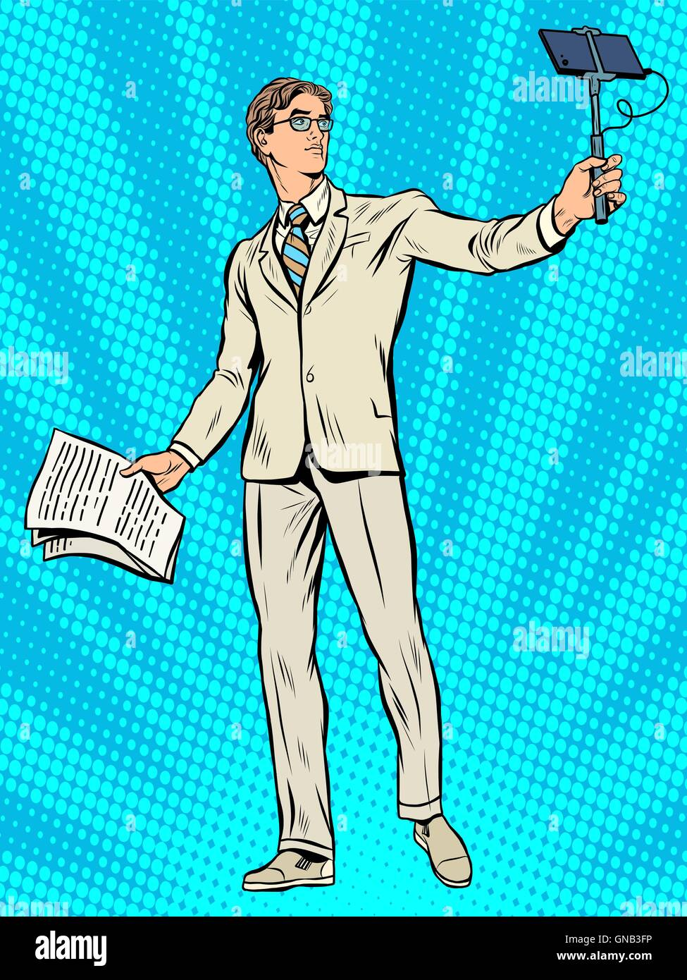 Narcissism businessman Apollo Narcissus makes a selfie - Stock Vector