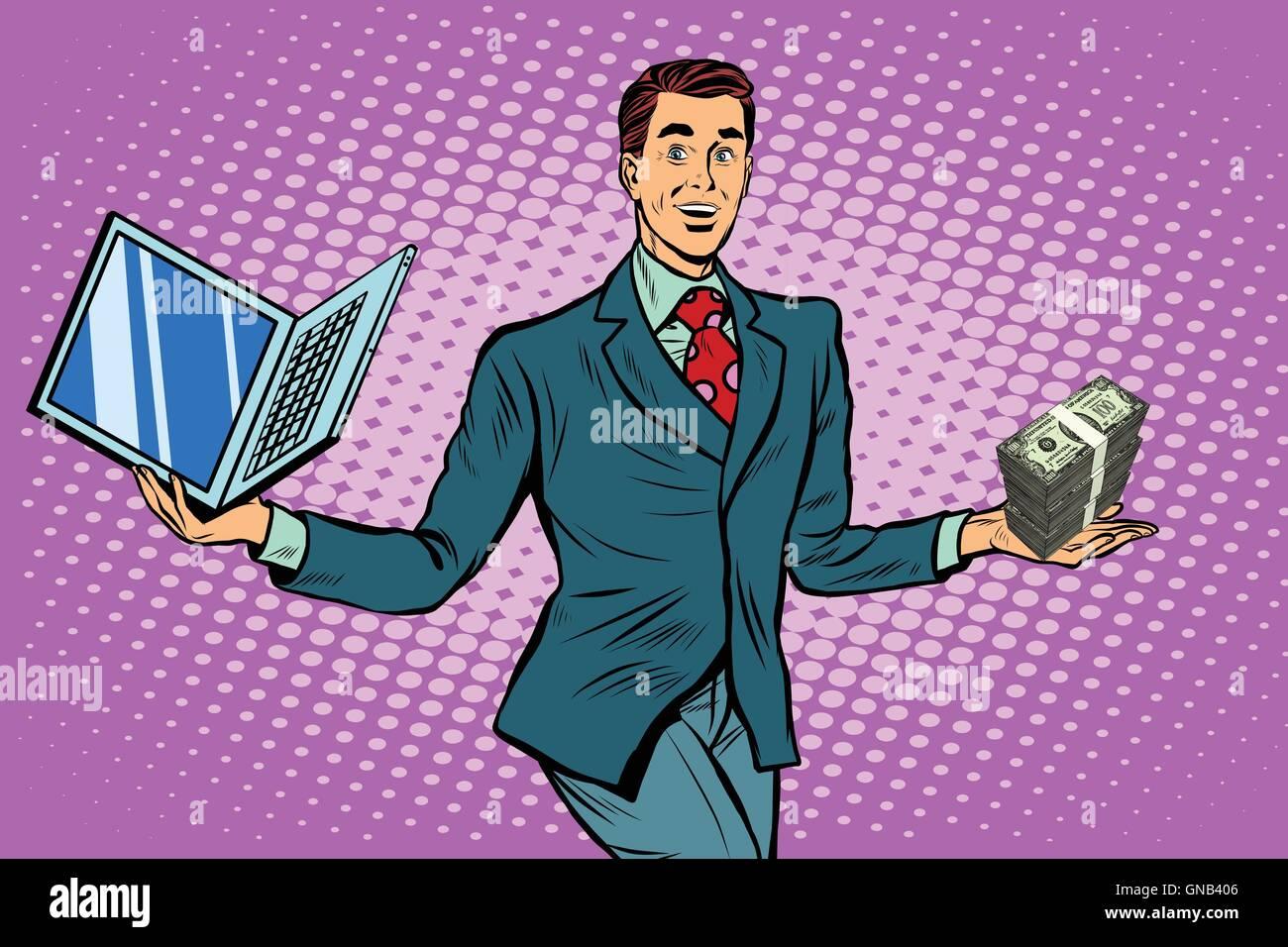 Businessman selling laptops - Stock Image