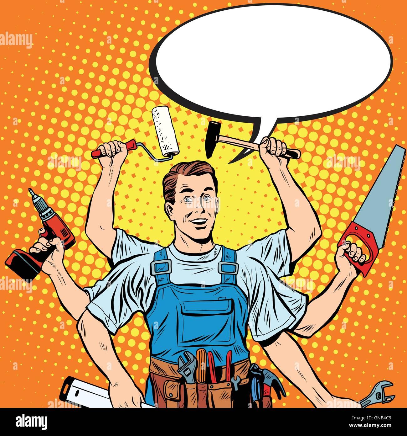 multi-armed master repair professional - Stock Vector
