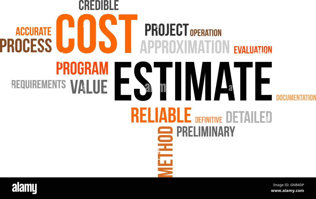 word cloud - cost estimate - Stock Image
