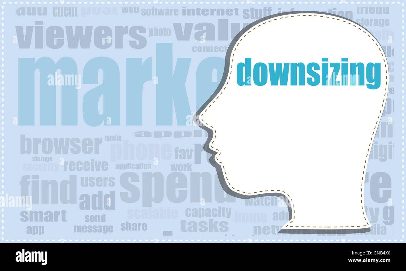 downsizing, vector head, profile icon, woman head silhouette, business man head. vector illustration - Stock Image