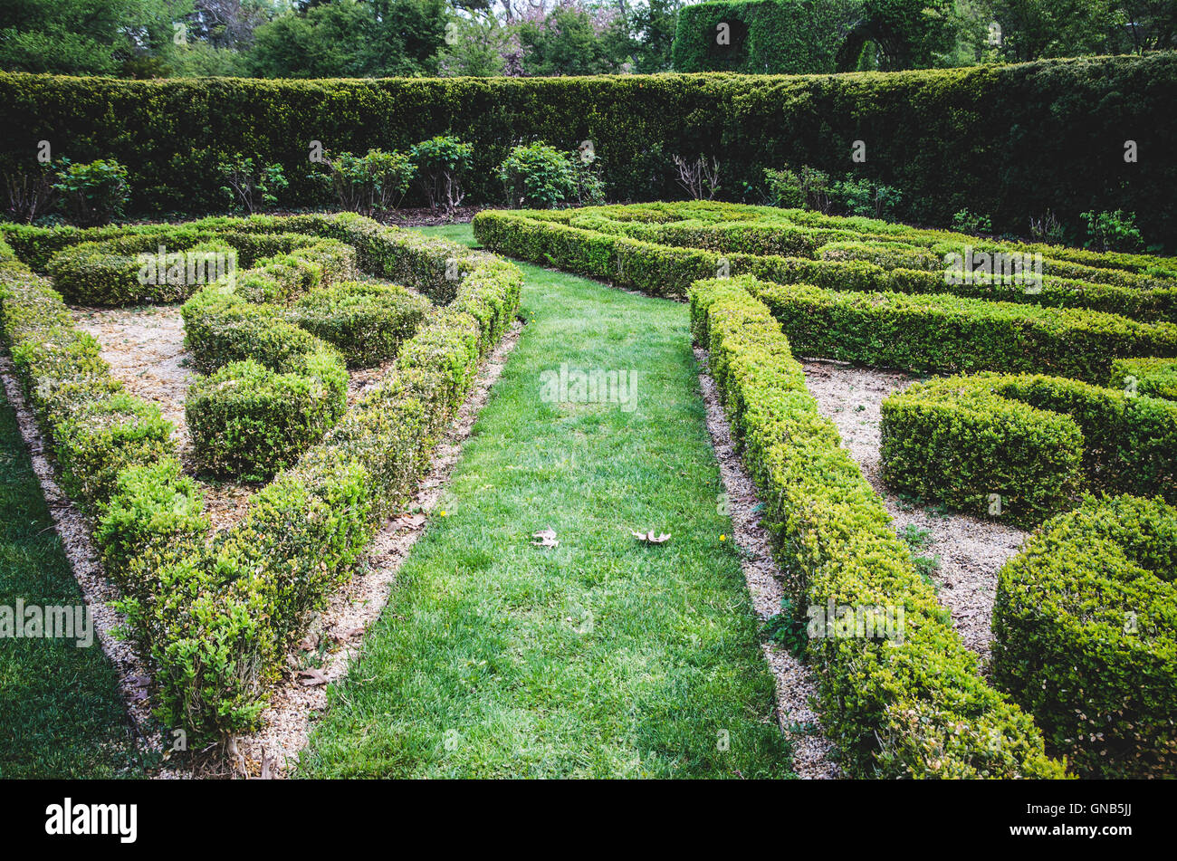 Landscaped Garden, Nassau County Museum of Art, Roslyn, New York, USA - Stock Image