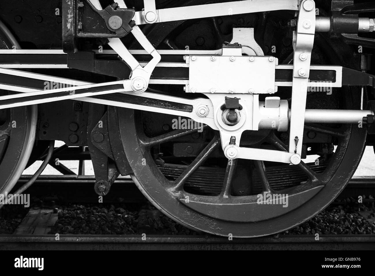 Wheels of steam locomotive with the power parts, stylized black and white photo Stock Photo