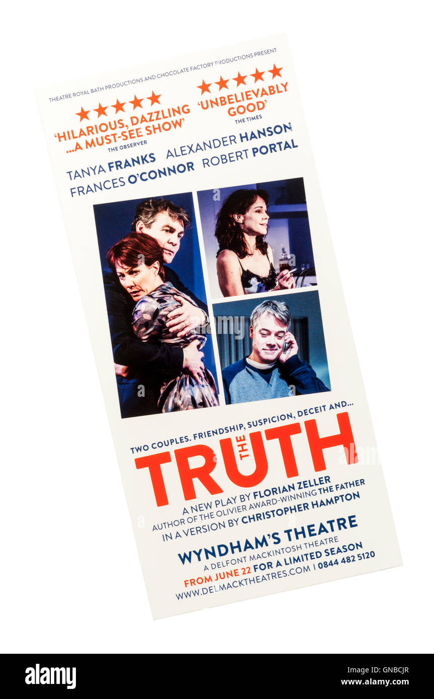 Promotional flyer for 2016 production of The Truth by Florian Zeller at Wyndham's Theatre.  A version by Christopher - Stock Image