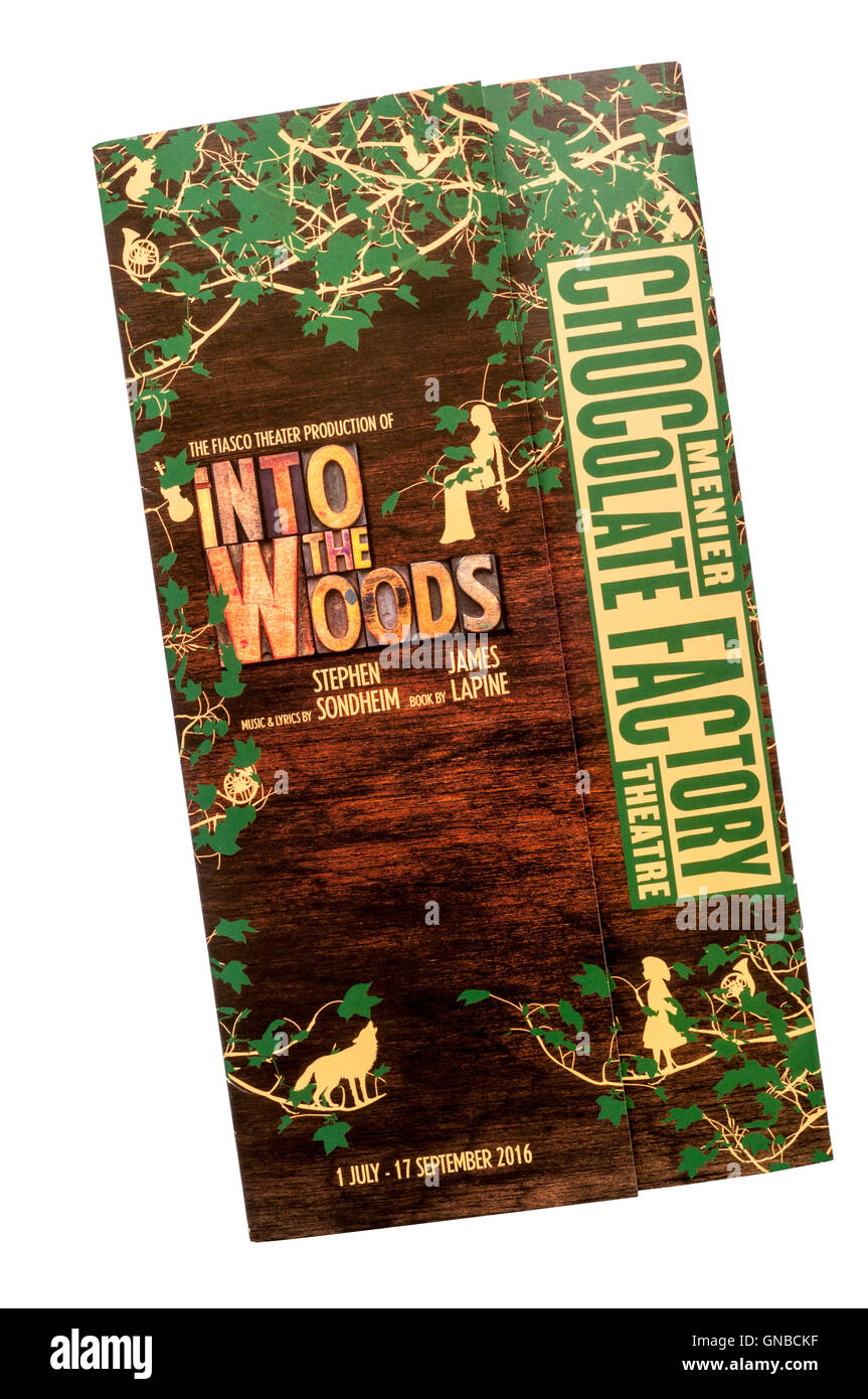 Programme for 2016 Fiasco Theater Company production of Into The Woods by Stephen Sondheim at Menier Chocolate Factory - Stock Image