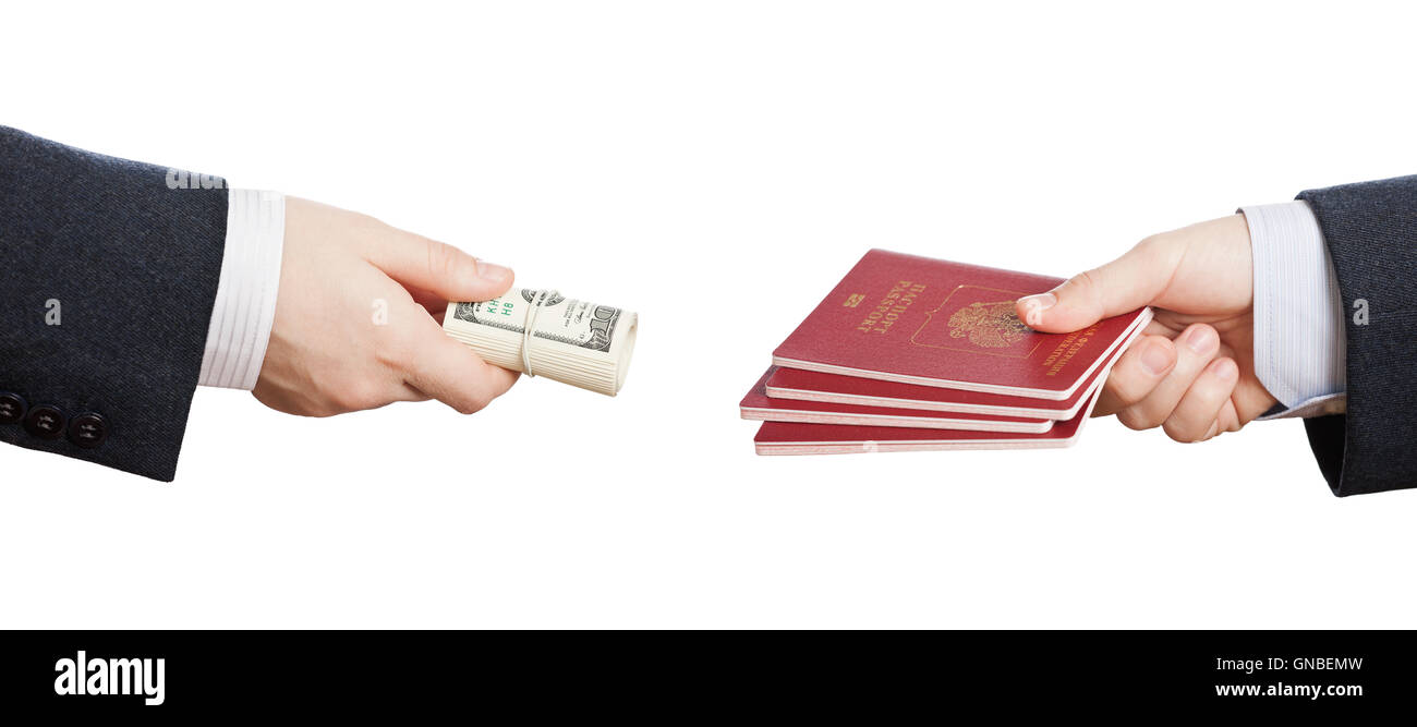 Buying fake or forged passport document - Stock Image