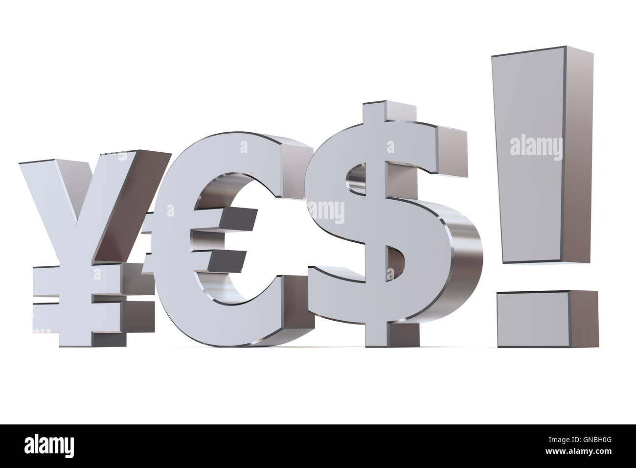 Yes to the Yen, Euro and Dollar - Stock Image