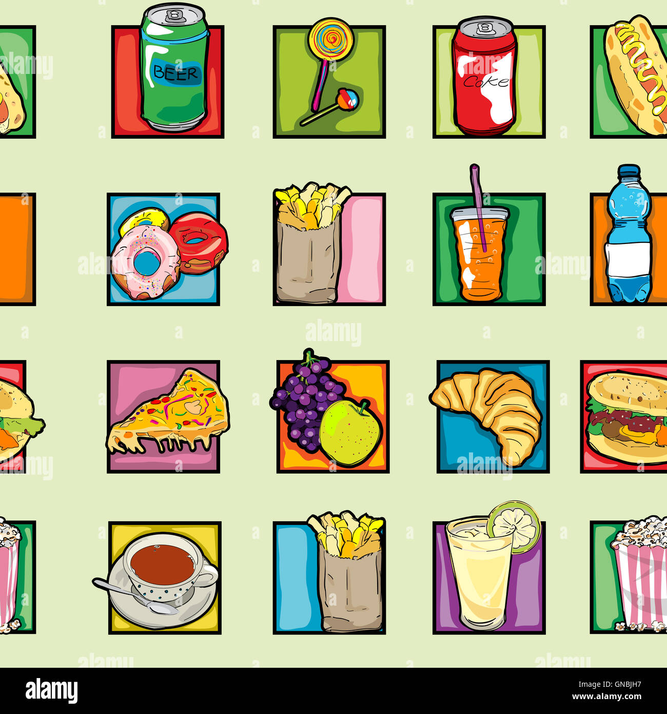 pop art food pattern - Stock Image