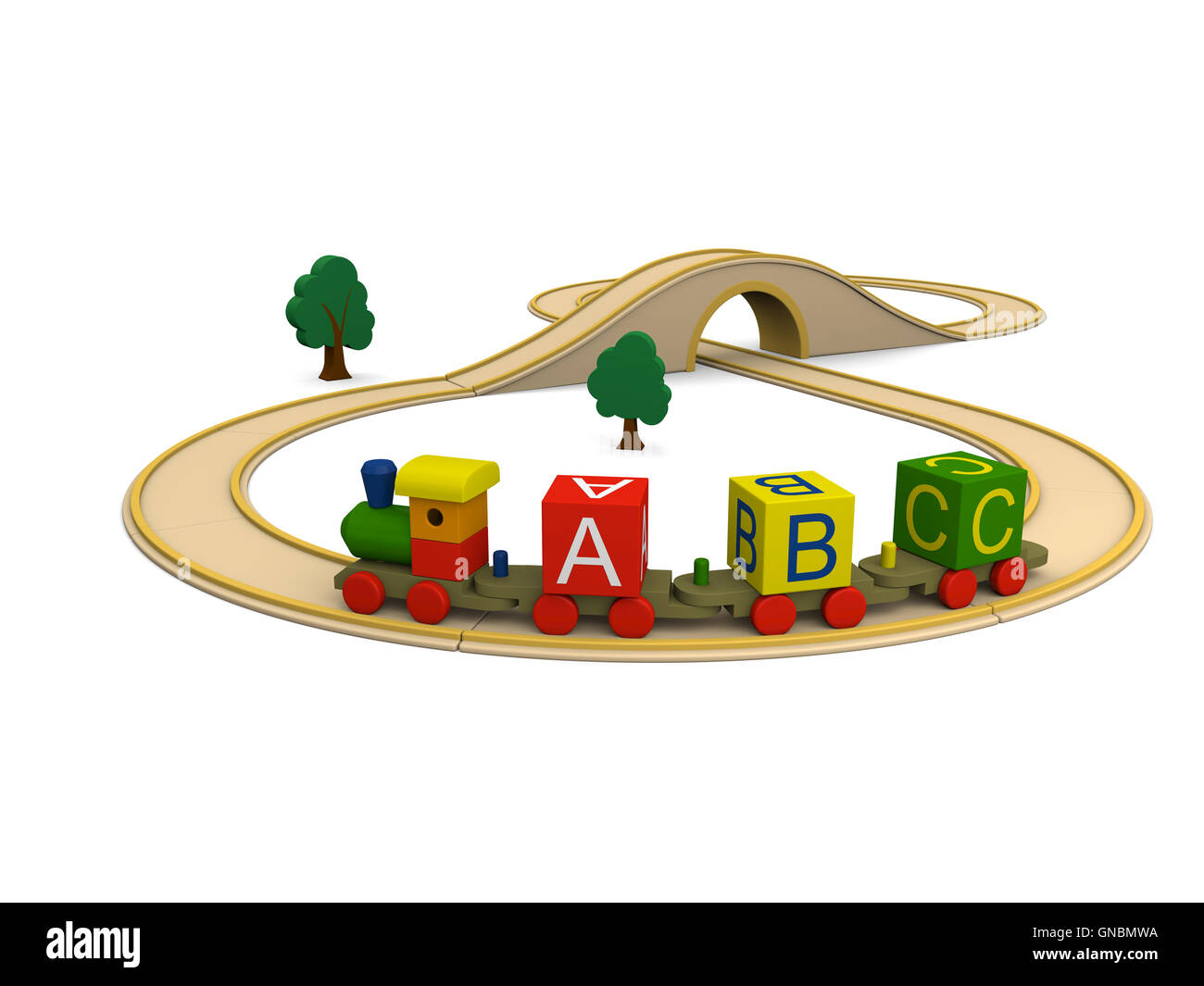 Wooden toy train carrying alphabet letters Stock Photo