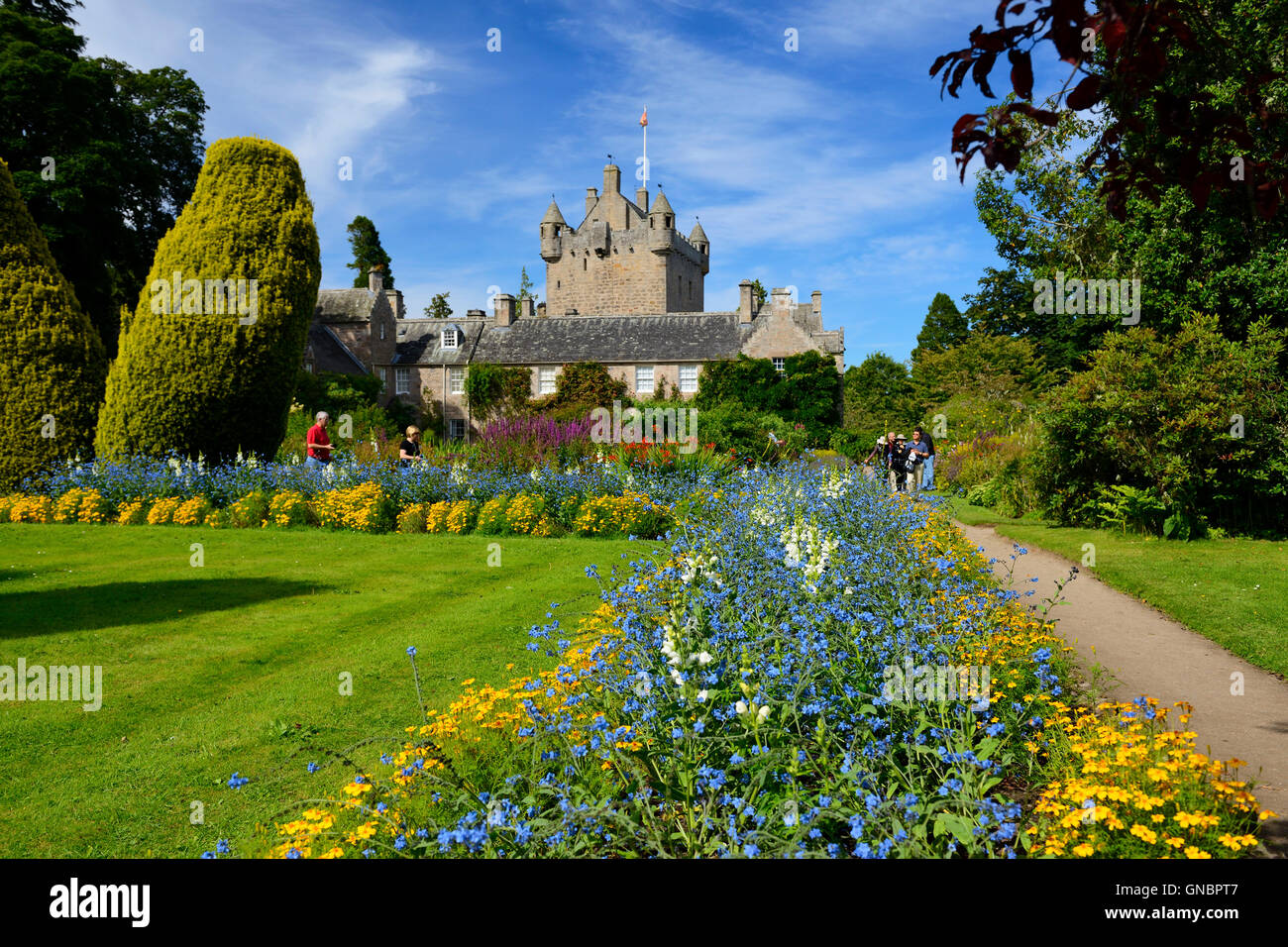 Flower garden at Cawdor Castle near Nairn in Inverness shire, Scotland - Stock Image