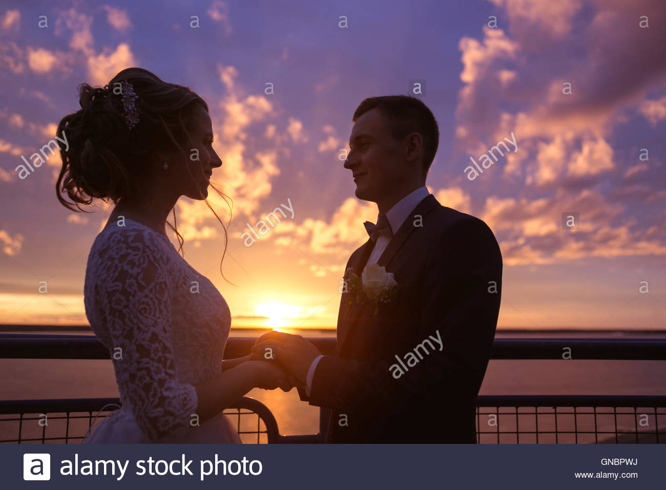Harmonious beautiful bride and groom holding hands look to each other's eyes at colorful magenta sunset on the - Stock Image