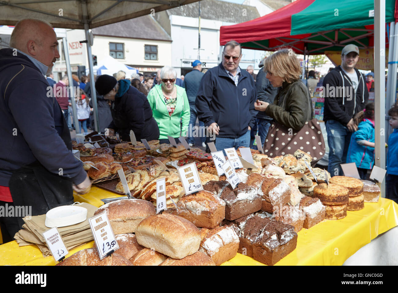 artisan breads stall at a food market in northern ireland Stock Photo