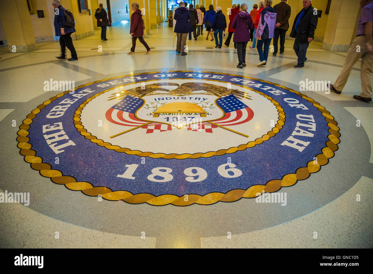 Great Seal of the State of Utah in the Capitol Building in Salt Lake City - Stock Image