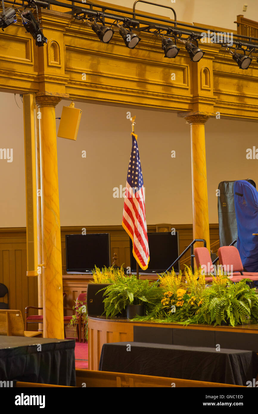 Interior with US flag in Mormon Temple of Latter Day Saints in Salt Lake City Utah USA - Stock Image