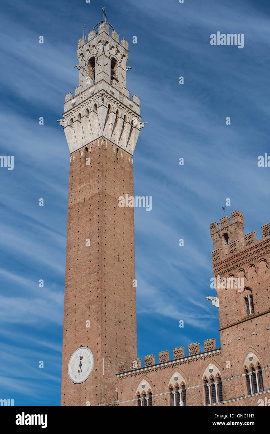 sienna italy august 12 2016 beatiful view of orange brick sienna tower and castle with incredible cloudy sky