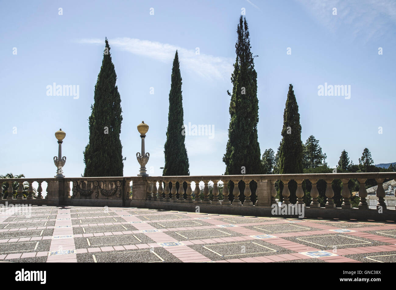 Terrace and Balustrade against Tall Trees, Hearst Castle, San Simeon, California, USA - Stock Image