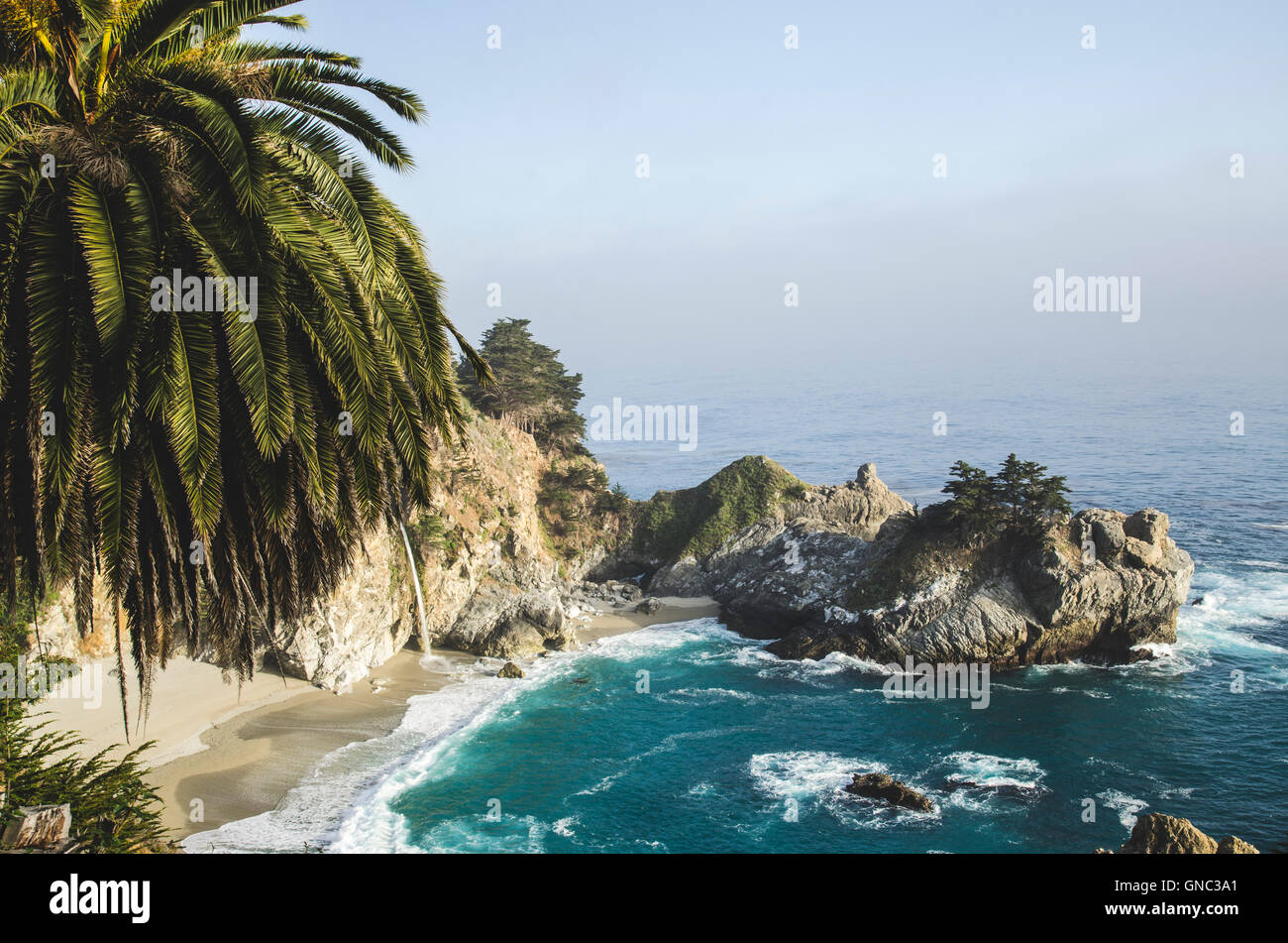 View of McWay Cove, Highway 1, Big Sur, Monterey, California Coast,  USA - Stock Image