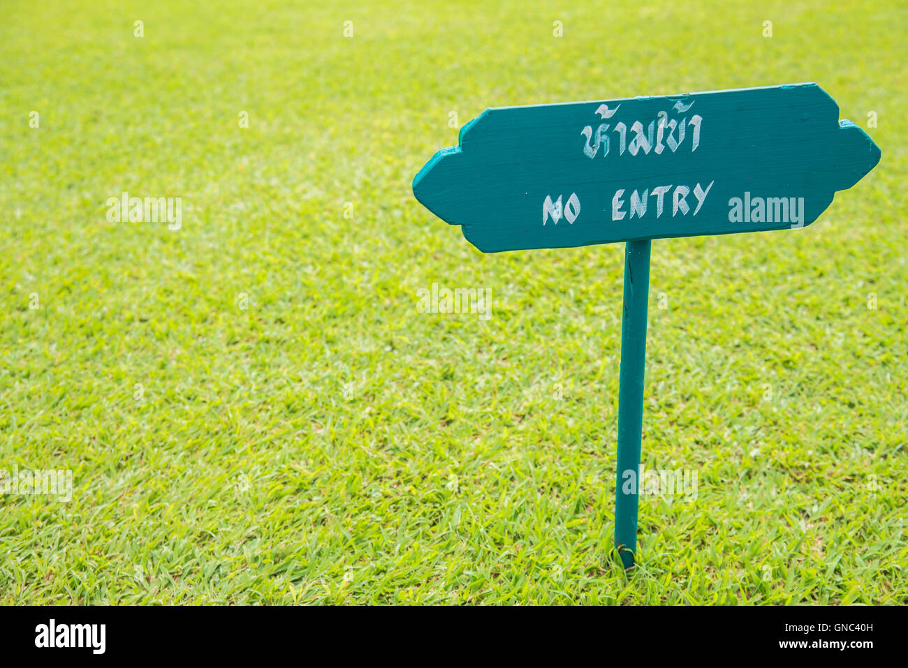 Wooden sign NO ENTRY in green grass garden - Stock Image