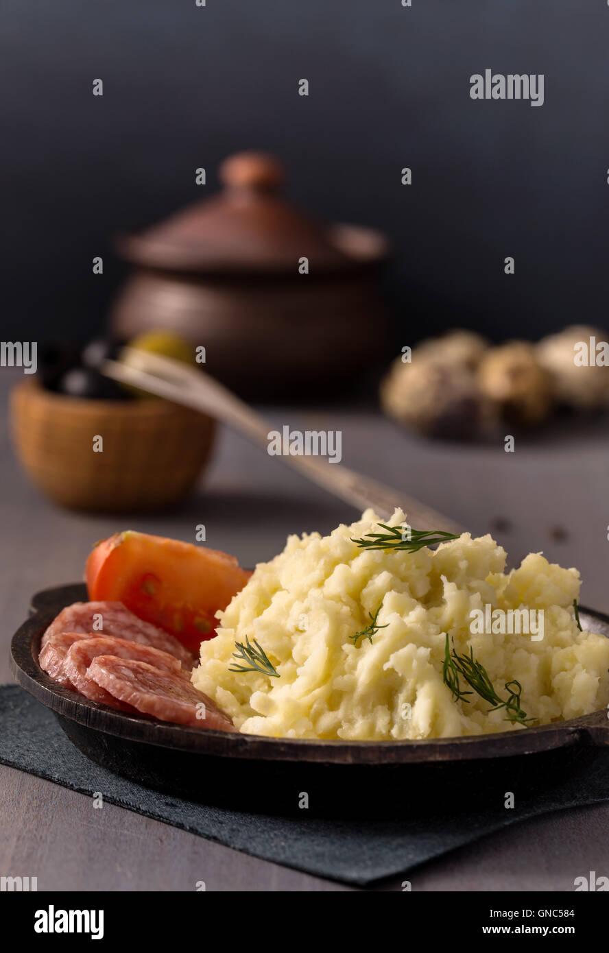 Mashed potatoes on plate - Stock Image