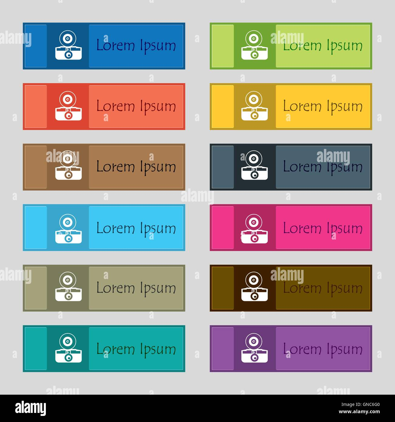 retro photo camera icon sign. Set of twelve rectangular, colorful, beautiful, high-quality buttons for the site. - Stock Vector