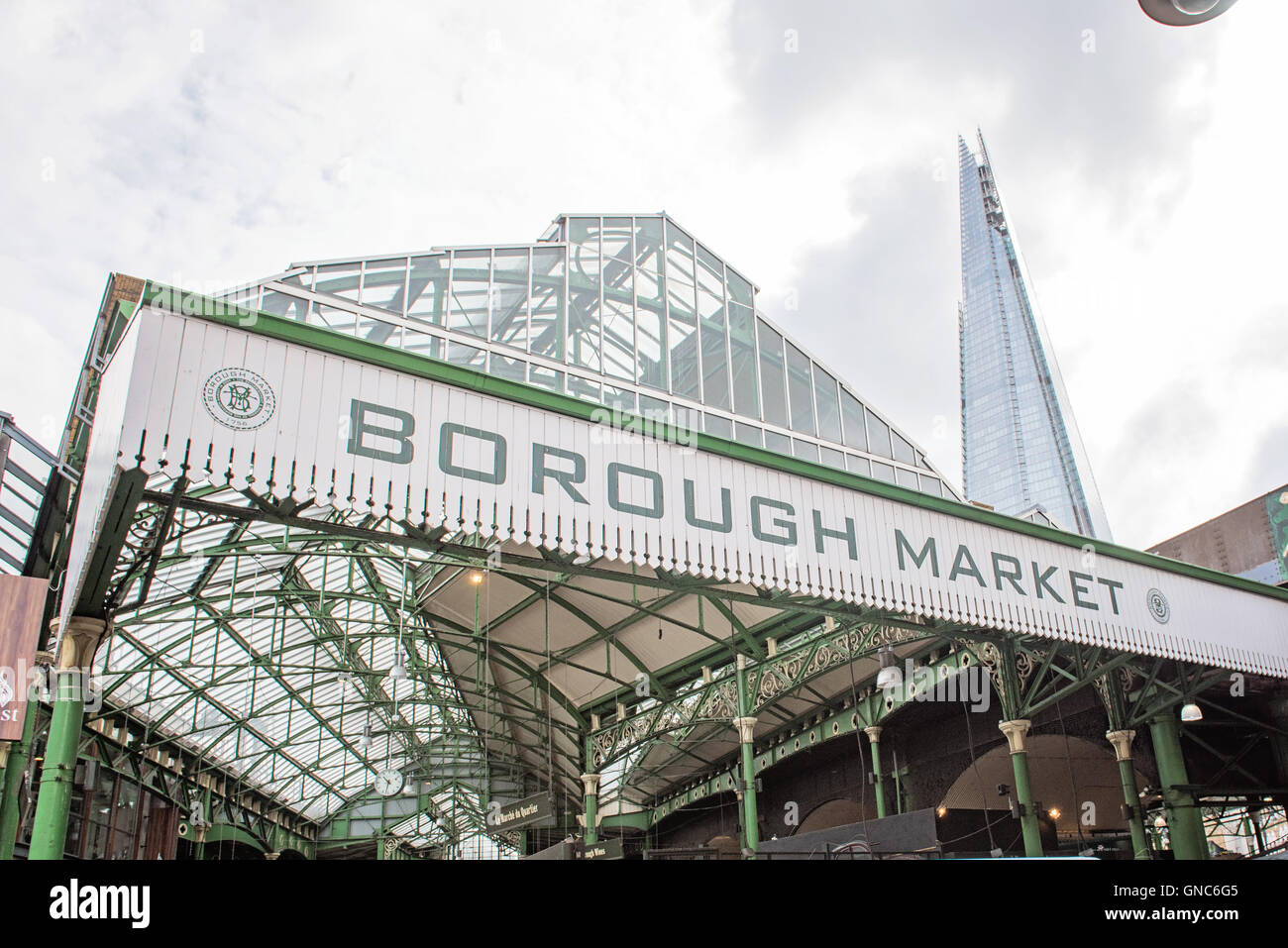 London Borough Market with Shard in the background - Stock Image