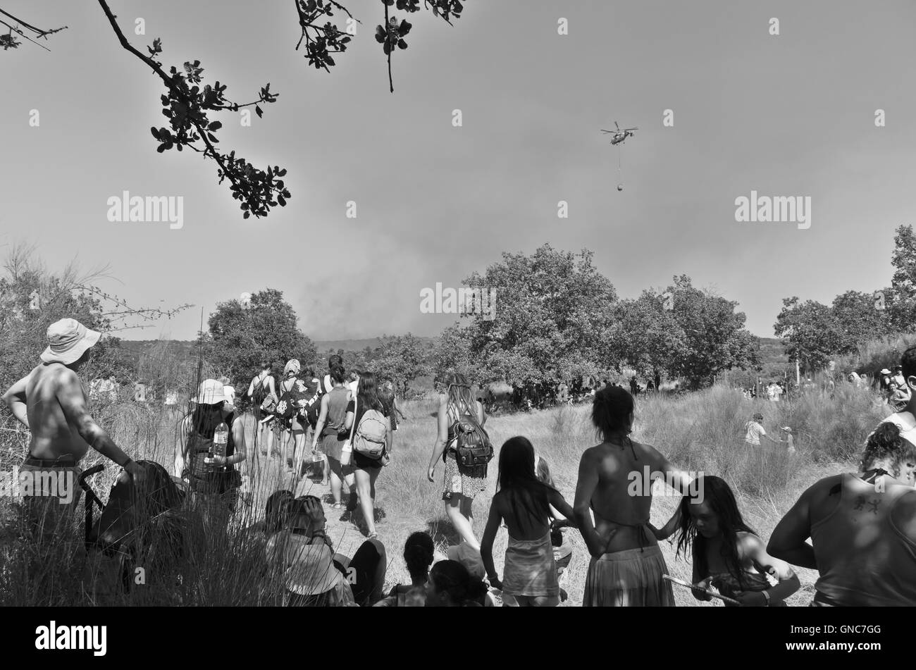 Image captured the day of the fire that occurred at the car park of the Dance Festival Andanças 2016 (August - Stock Image