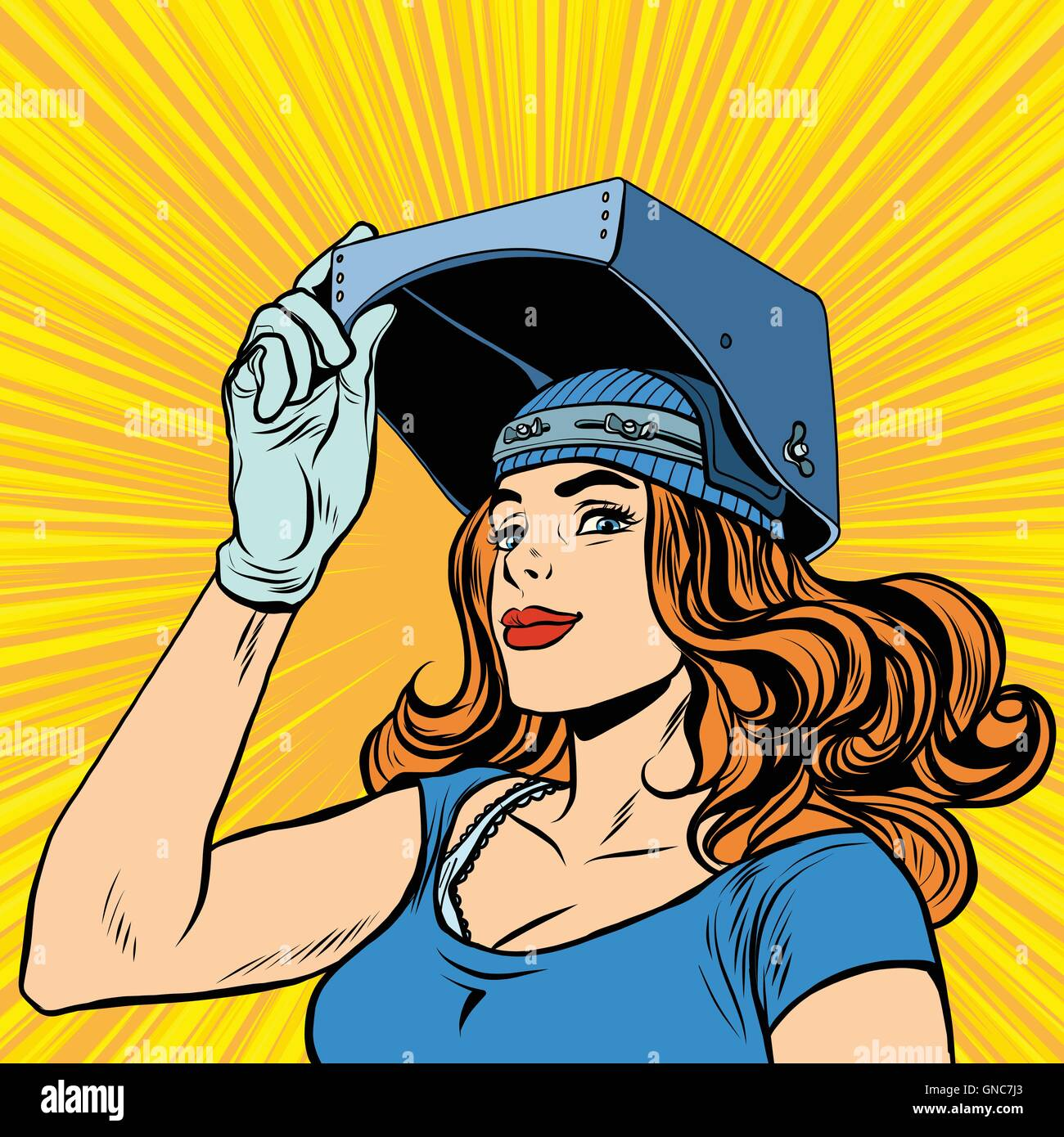 retro girl welder job construction - Stock Vector