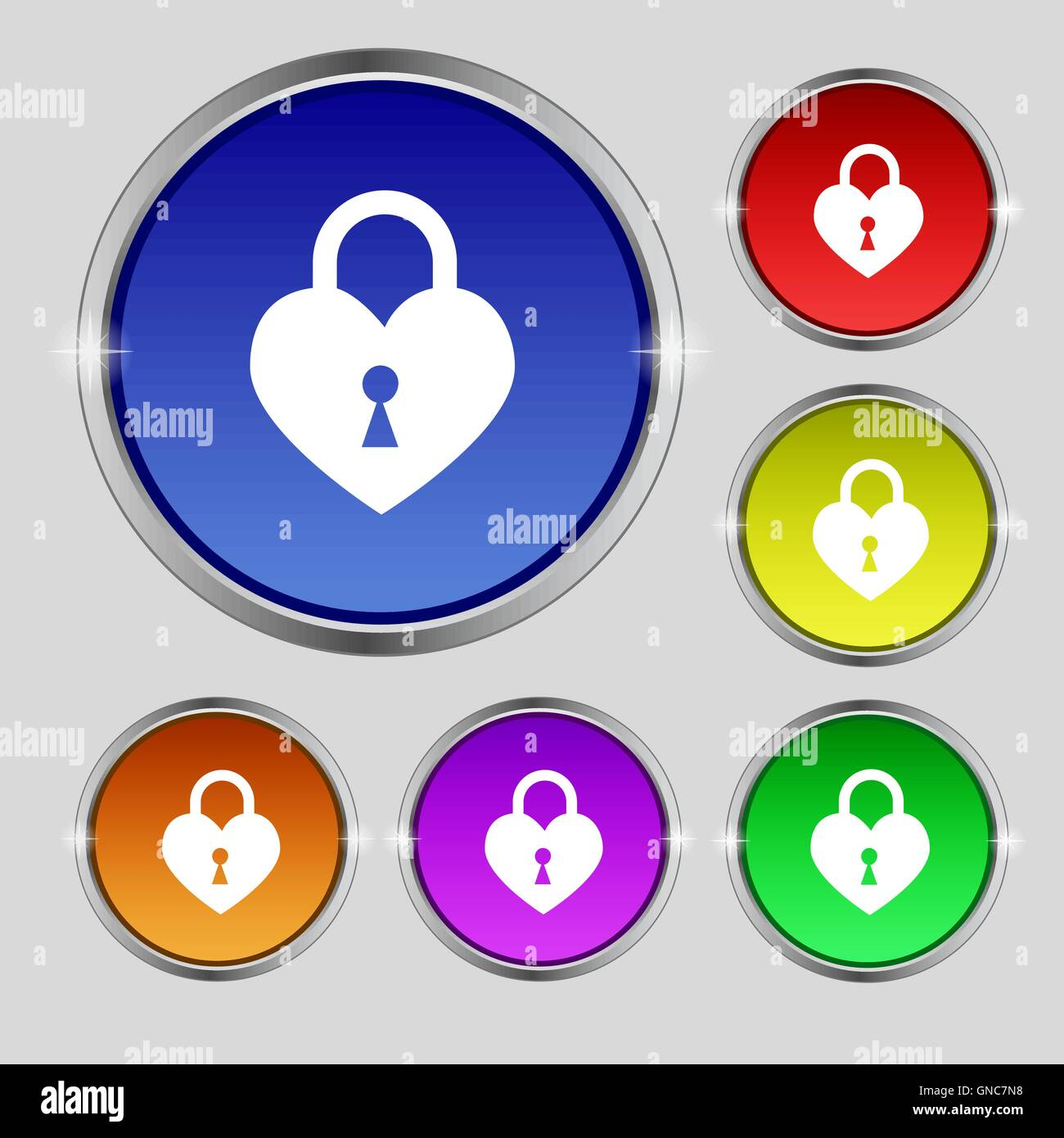 Lock in the shape of heart icon sign. Round symbol on bright colourful buttons. Vector - Stock Image