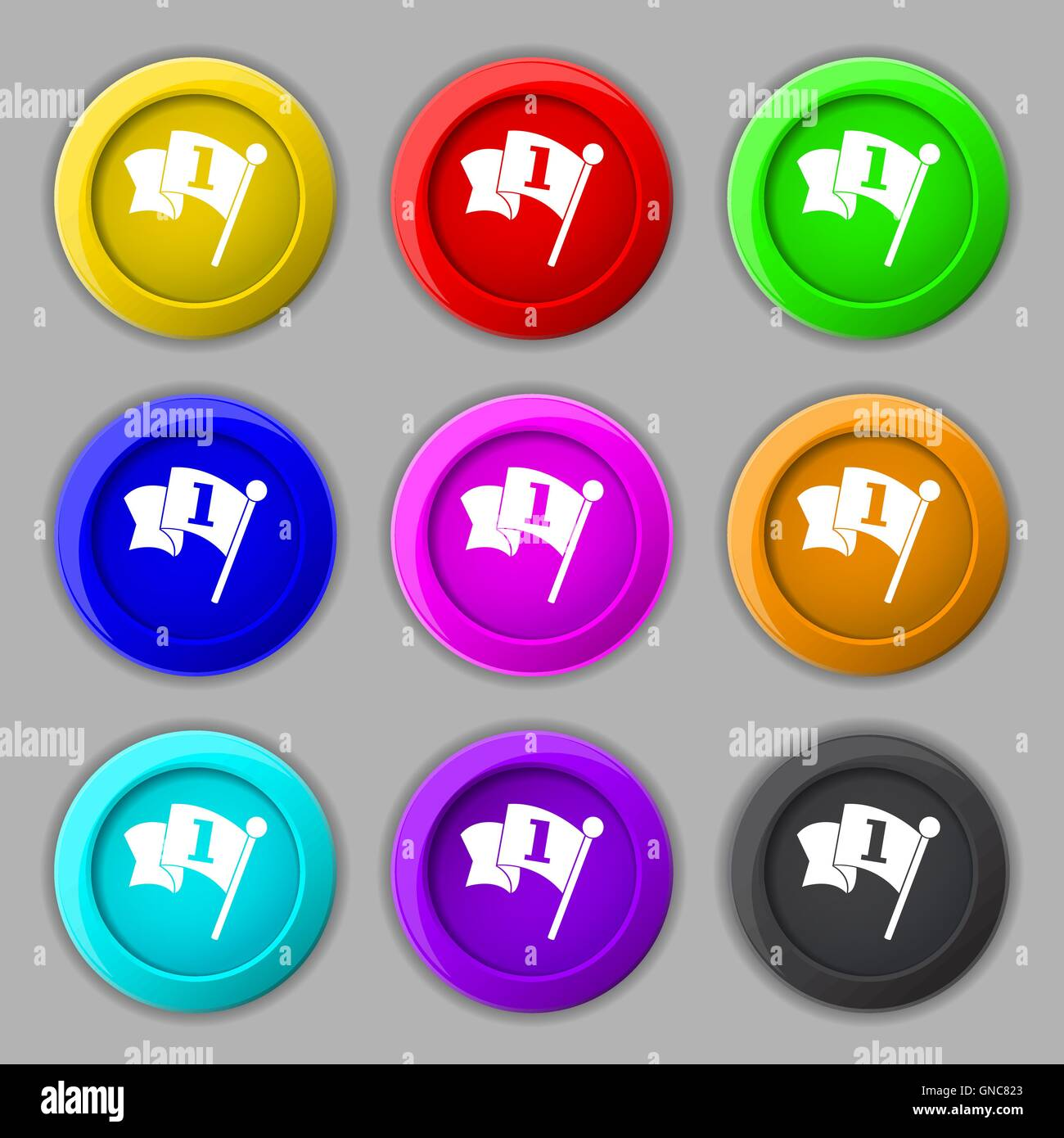 Flag icon sign. symbol on nine round colourful buttons. Vector - Stock Vector