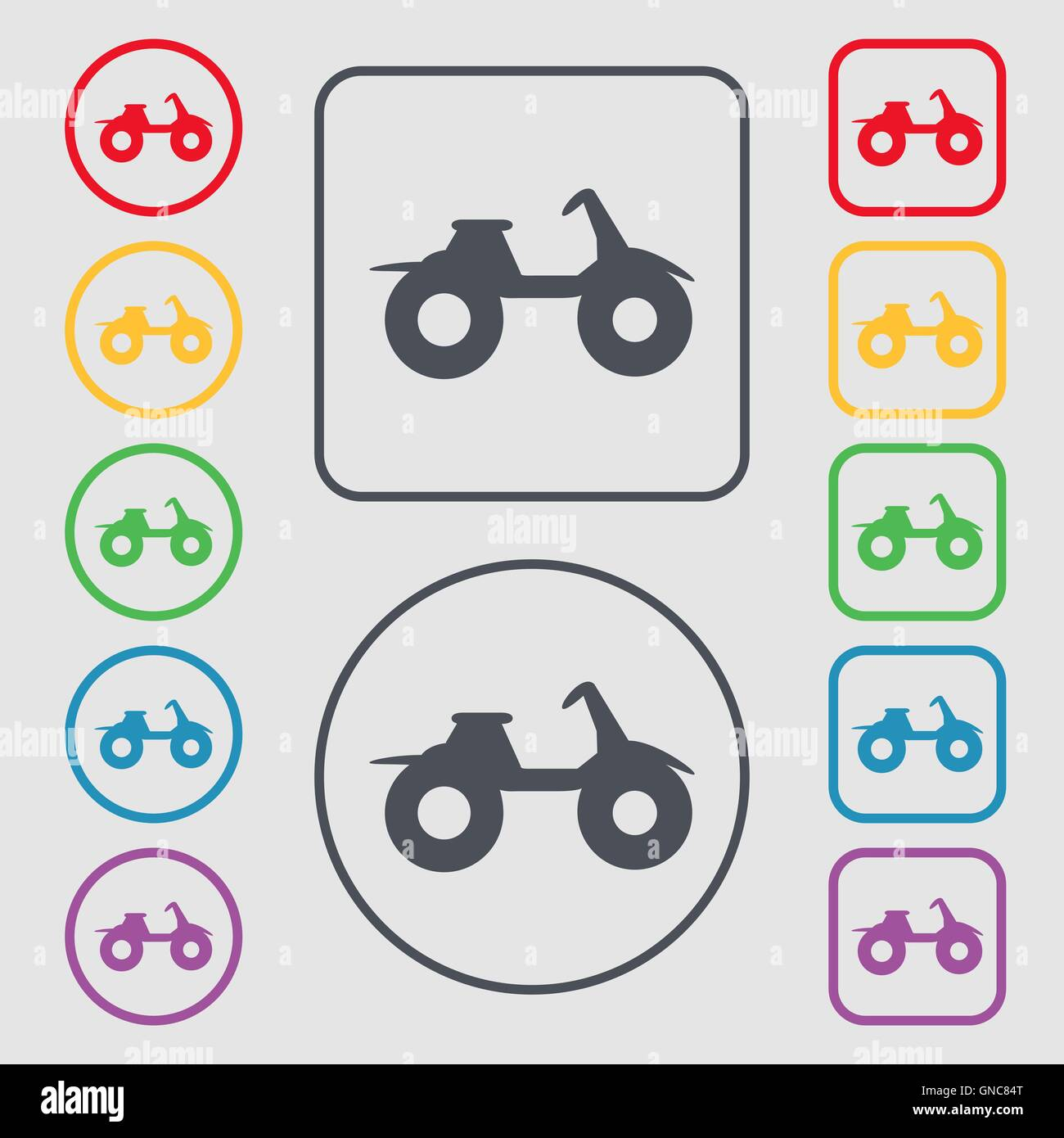 ATV icon sign. symbol on the Round and square buttons with frame ...