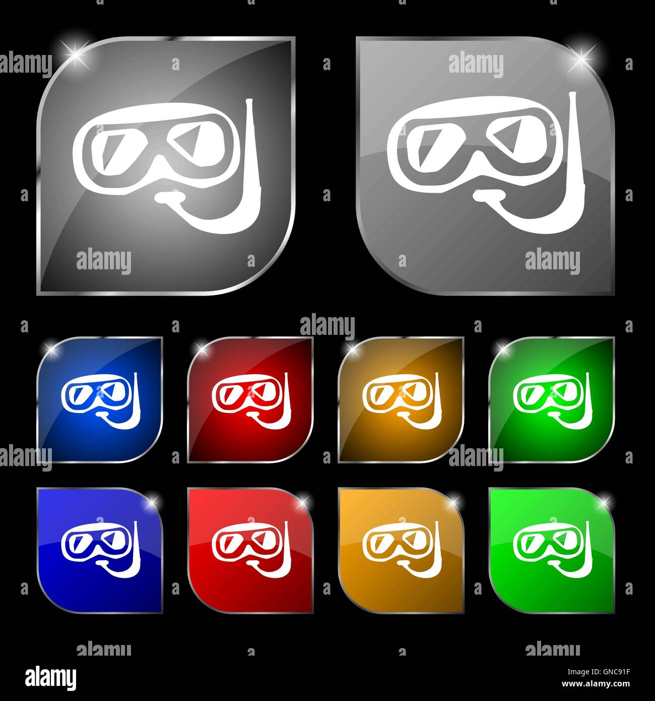 Diving icon sign. Set of ten colorful buttons with glare. Vector - Stock Vector
