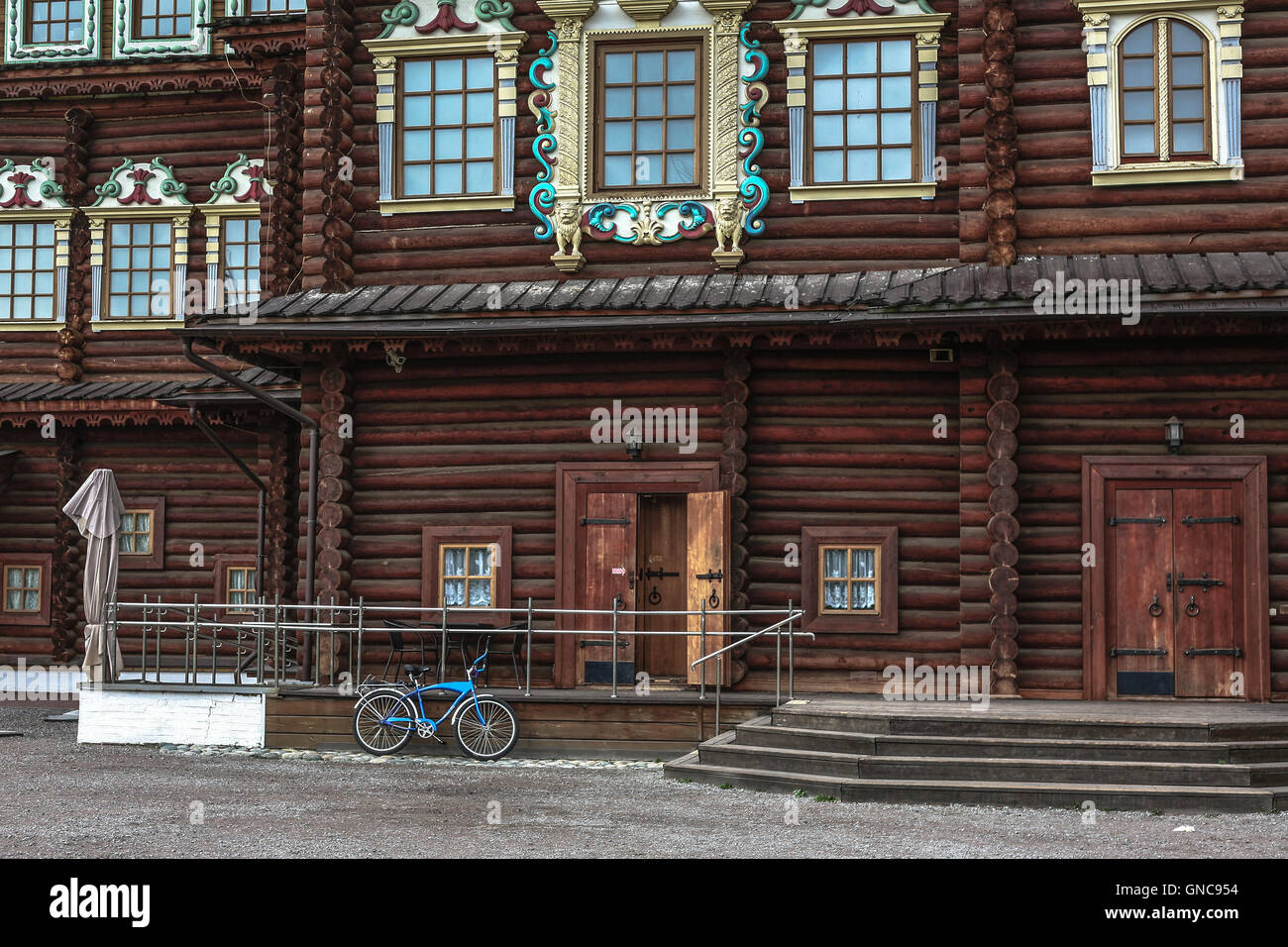 Someone has arrived to the imperial palace of Alexey Romanov in Kolomna in Moscow by bicycle. - Stock Image