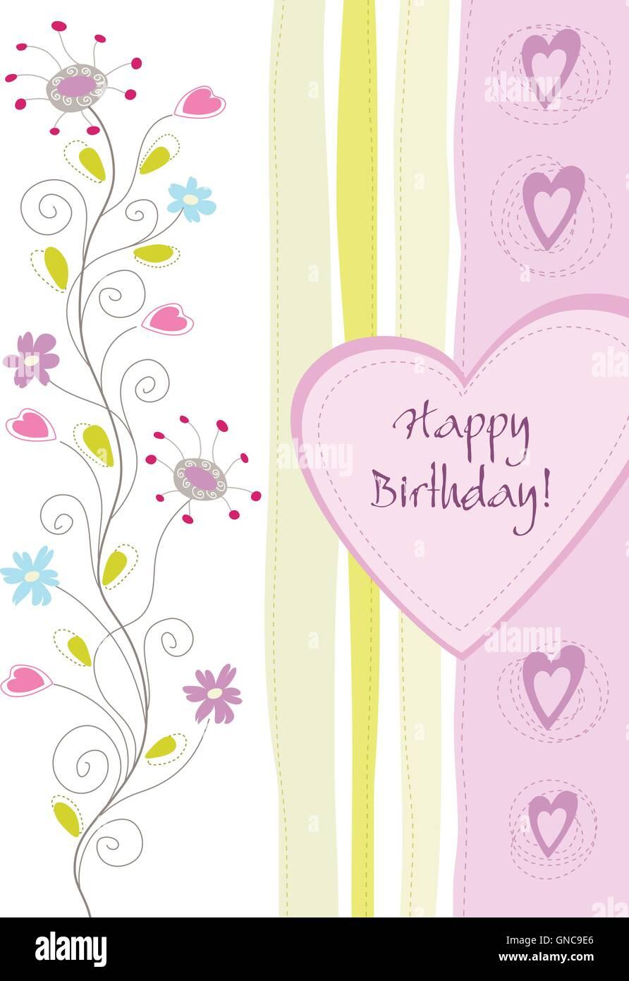Happy birthday flowers swirls pastel stock photos happy birthday happy birthday floral greeting card stock image izmirmasajfo