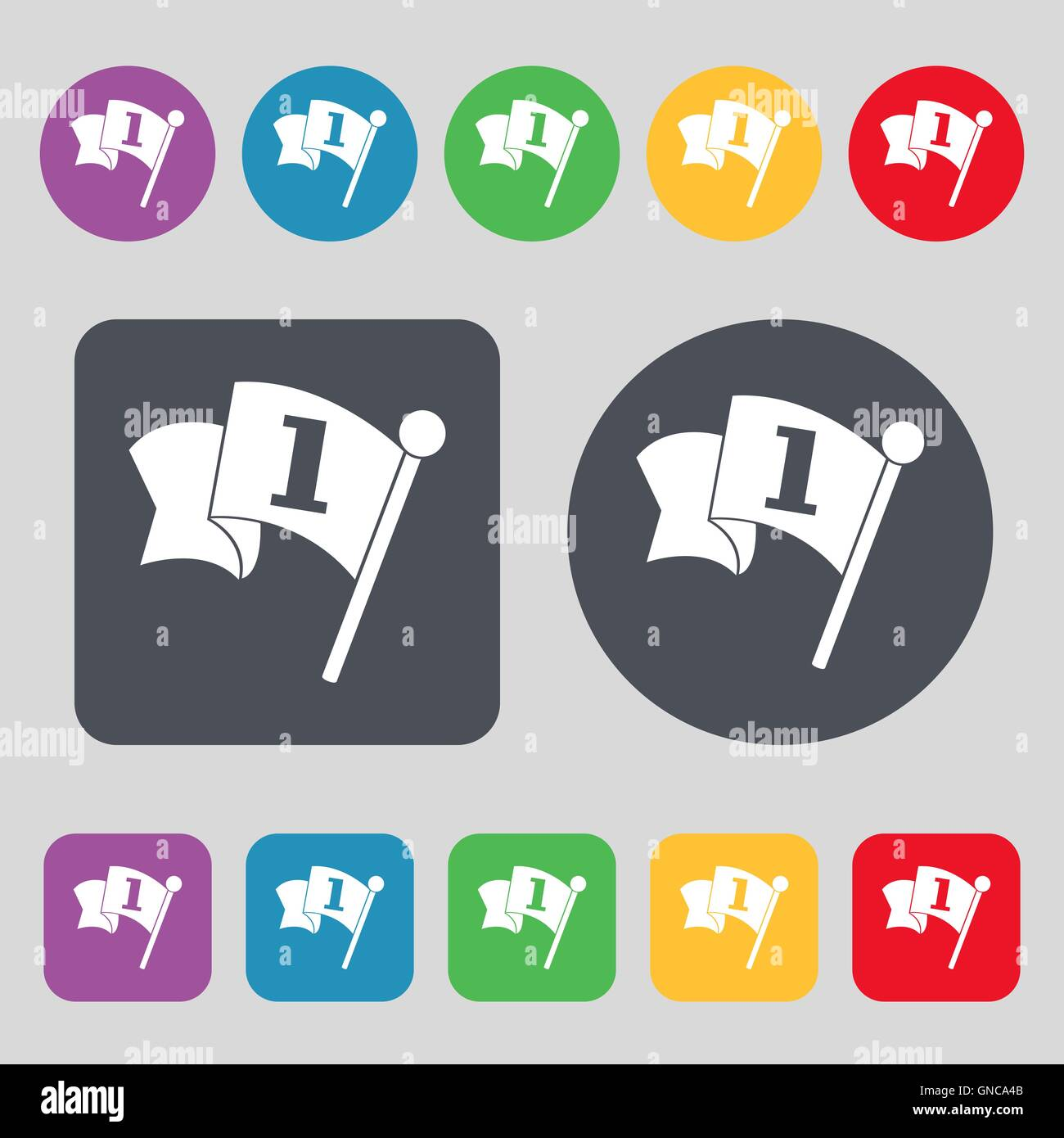 Flag icon sign. A set of 12 colored buttons. Flat design. Vector - Stock Vector