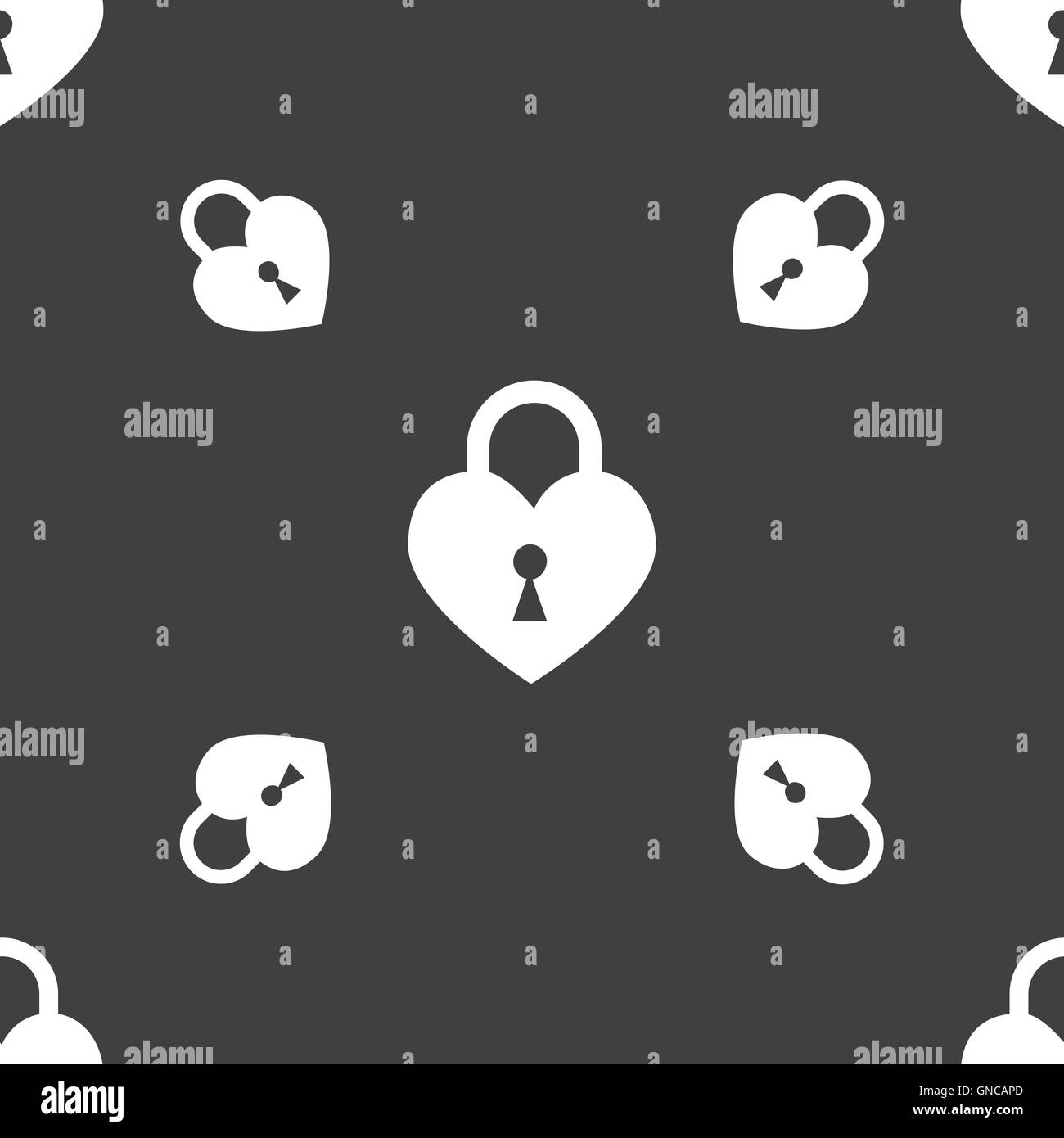 Lock in the shape of heart icon sign. Seamless pattern on a gray background. Vector - Stock Image